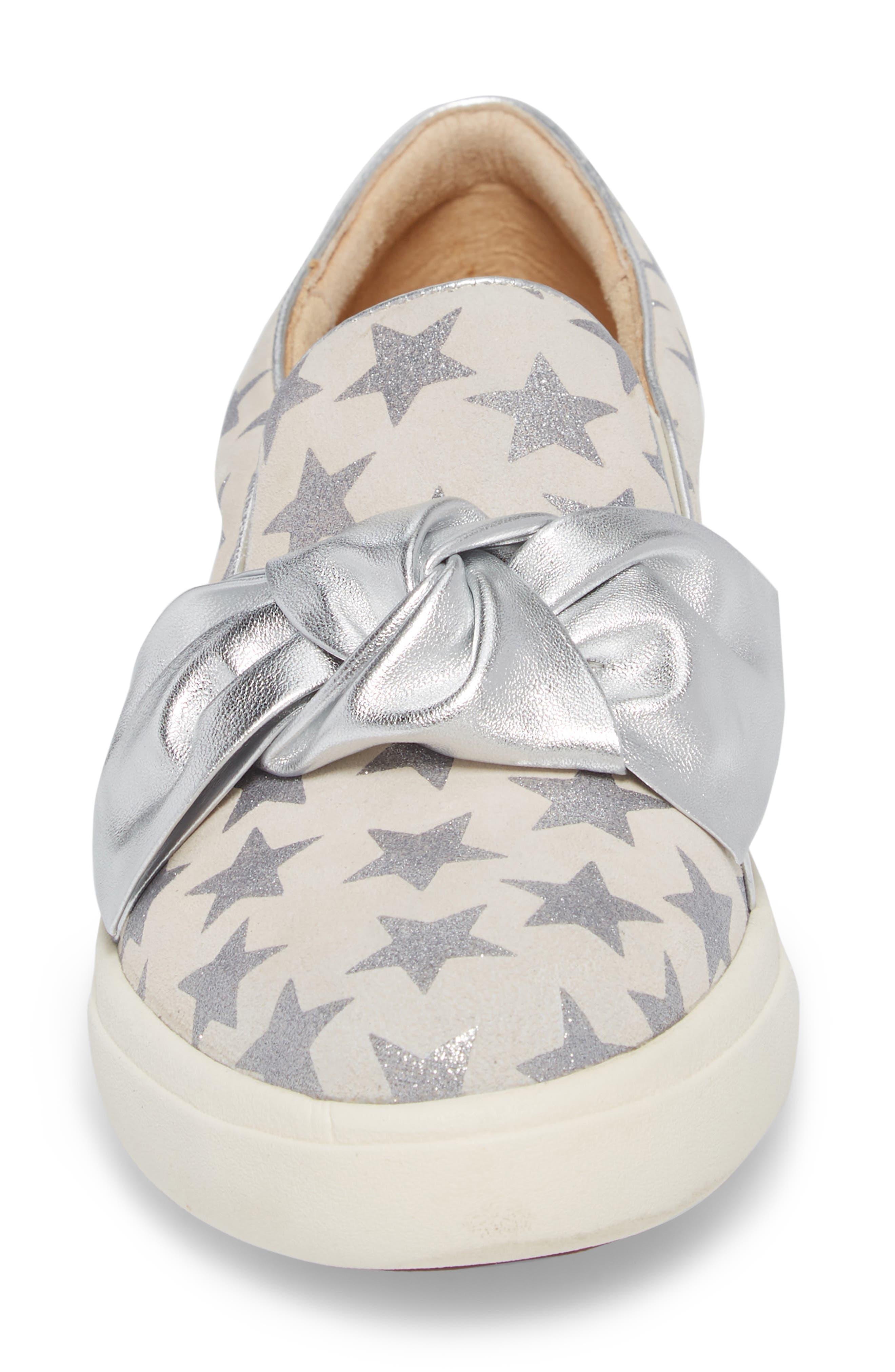 Odelet Slip-On Sneaker,                             Alternate thumbnail 4, color,                             Beige/ Silver Suede