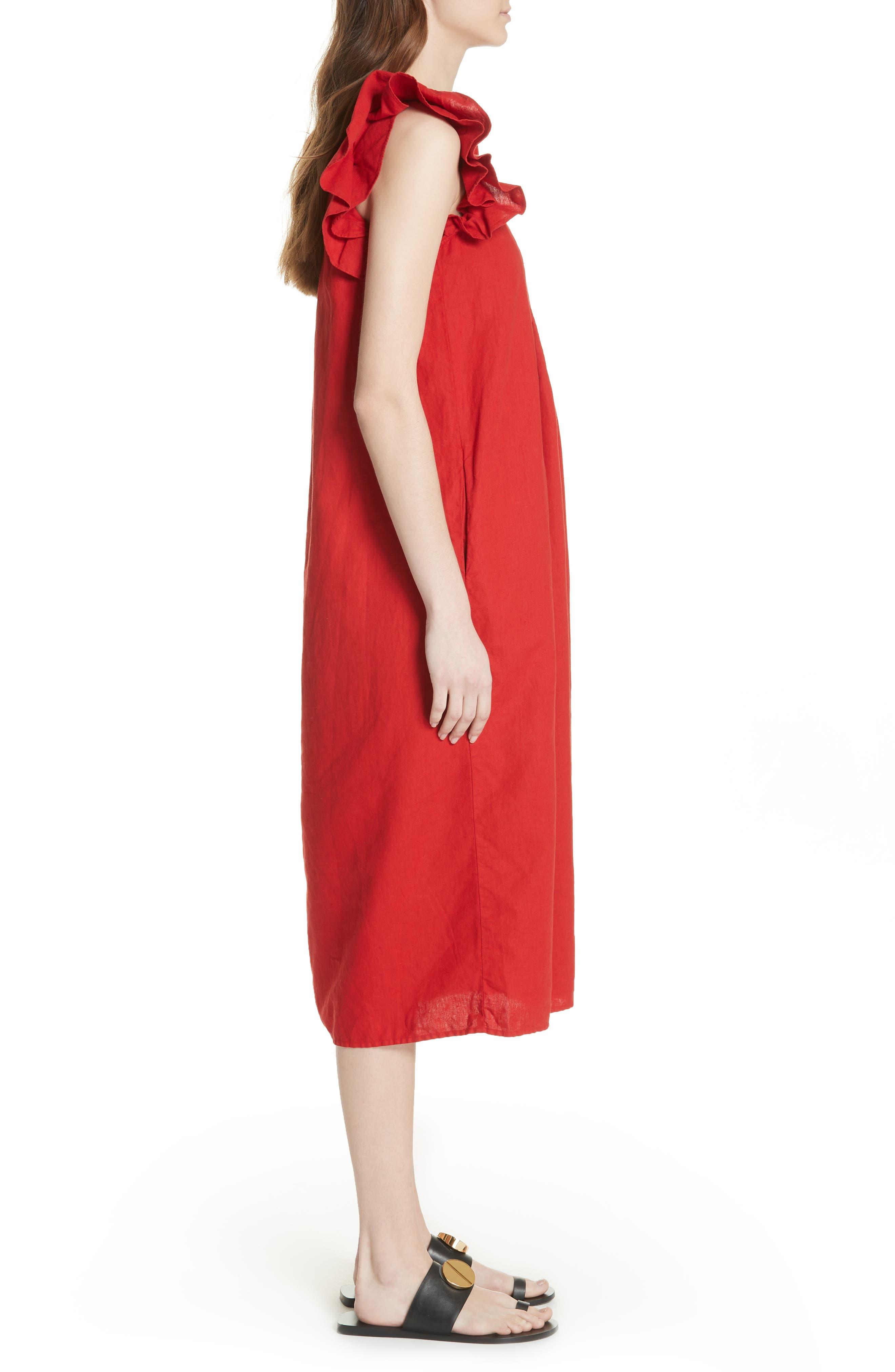 The Flutter Tulip Dress,                             Alternate thumbnail 3, color,                             Poppy