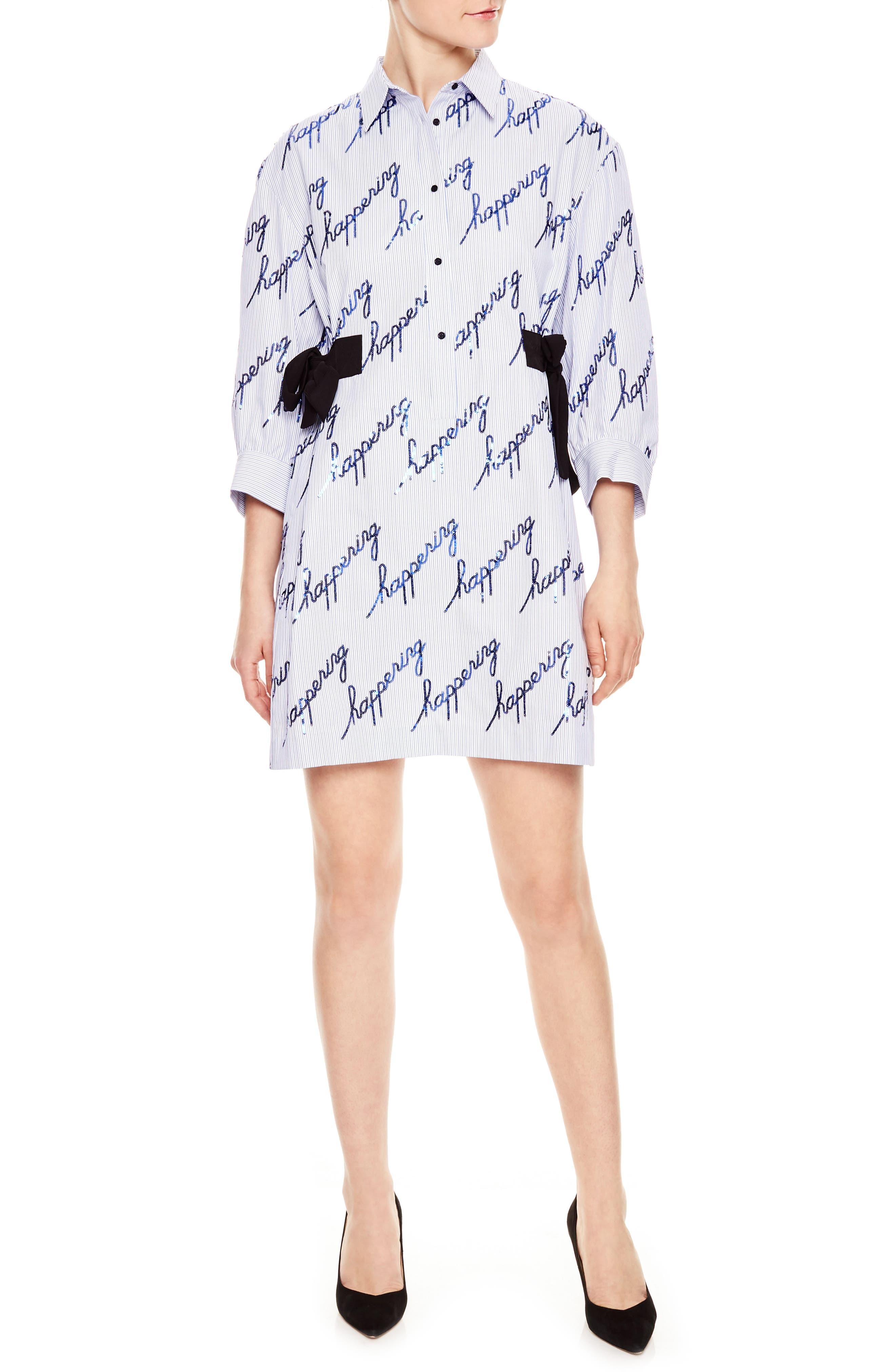 Main Image - sandro Bleu Ciel Pinstripe Happening Dress