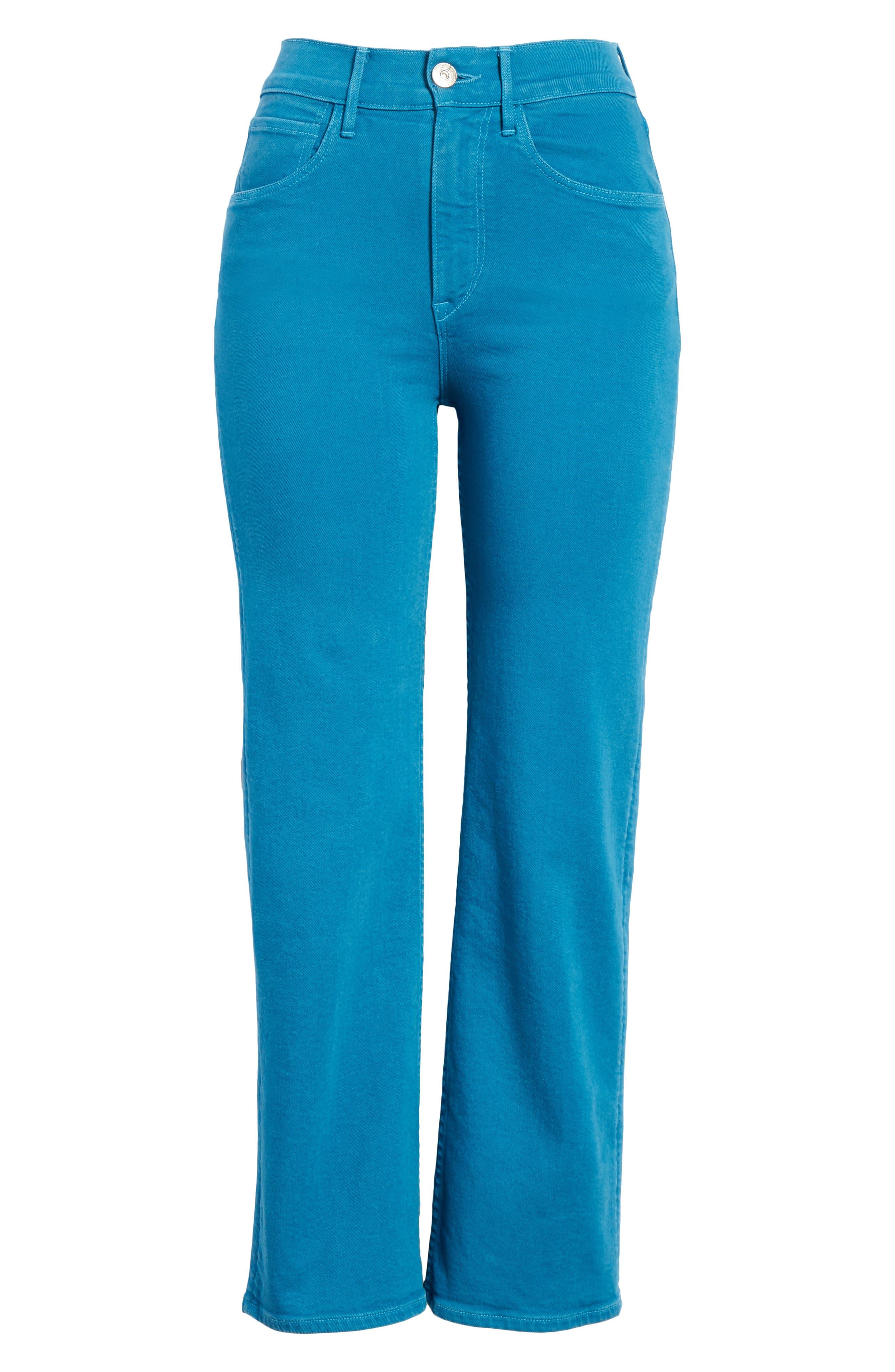W4 Shelter Wide Leg Crop Jeans,                             Alternate thumbnail 6, color,                             Peacock Blue