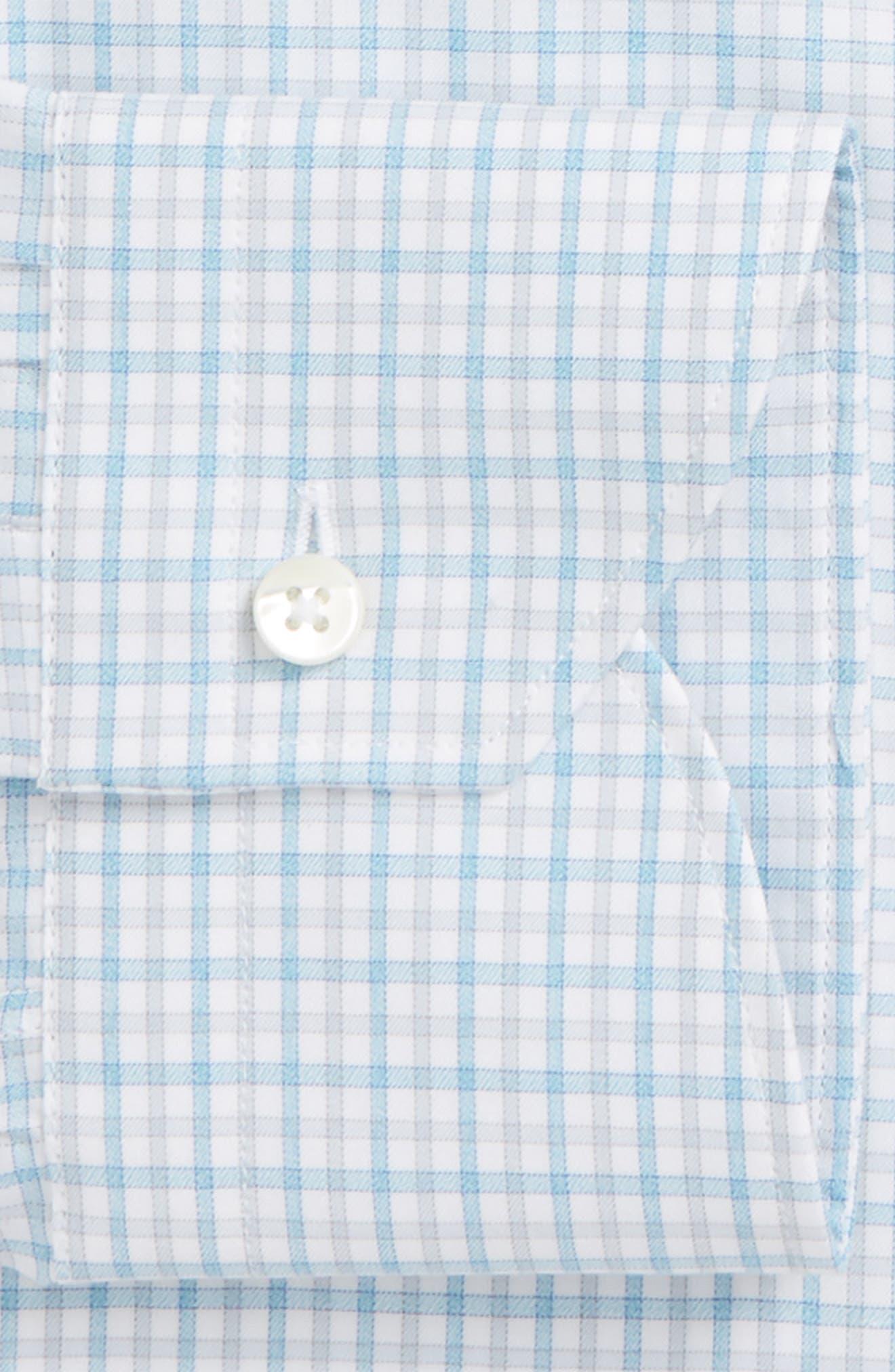Regular Fit Check Dress Shirt,                             Alternate thumbnail 5, color,                             Turquoise