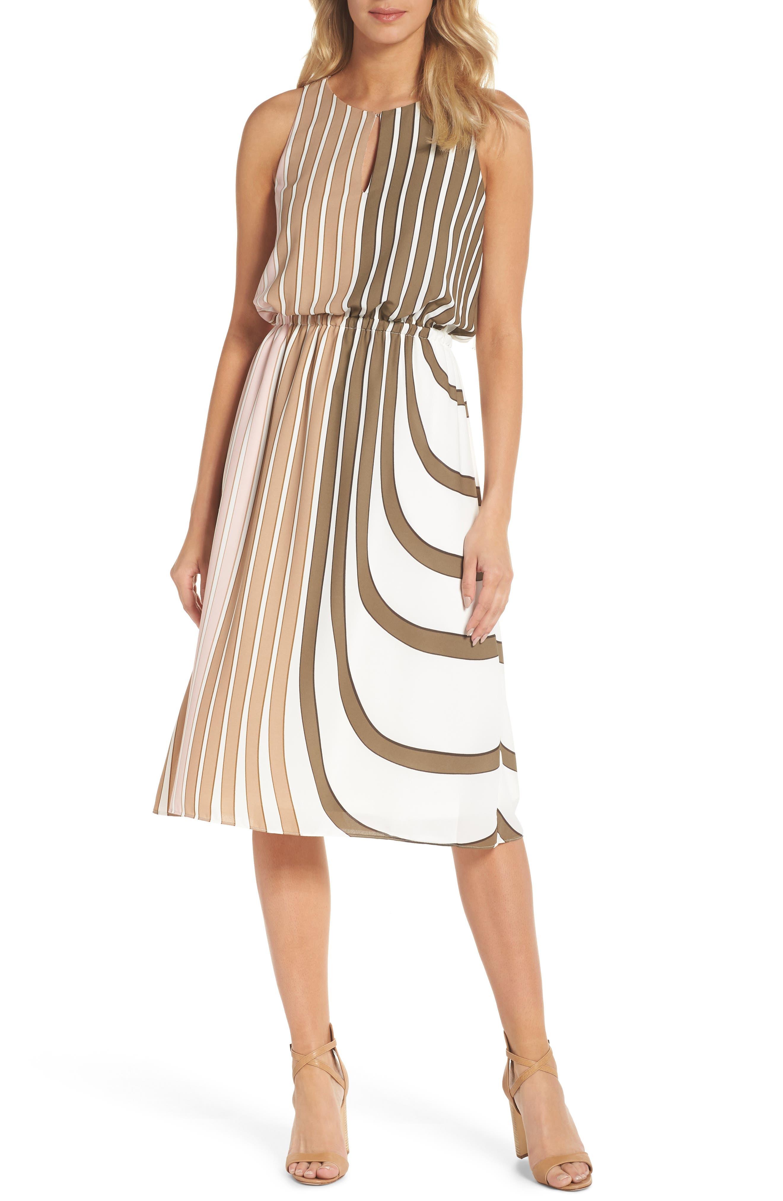 Blouson Midi Dress,                             Main thumbnail 1, color,                             Olive Multi