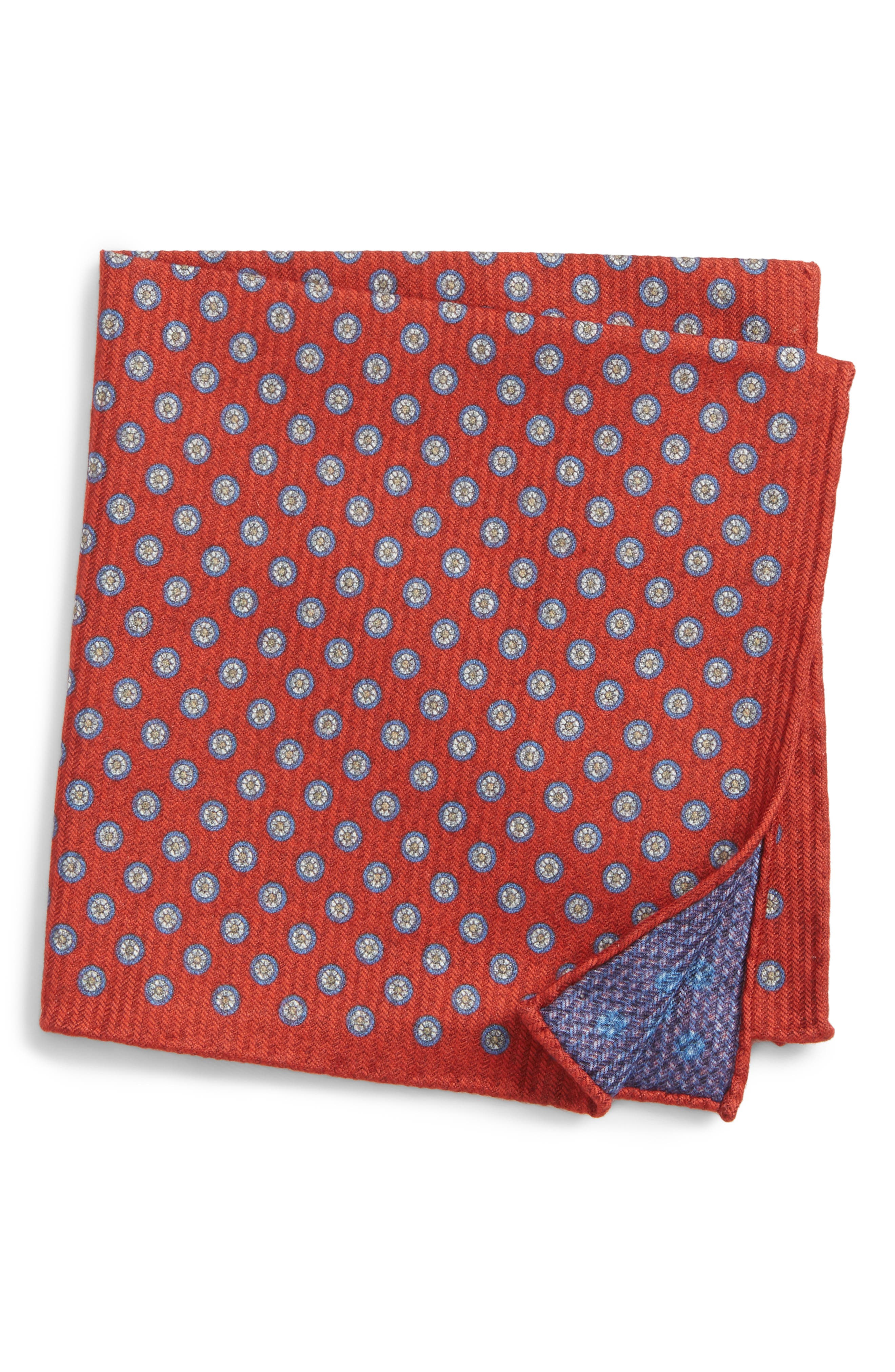 Medallion Pocket Square,                             Main thumbnail 1, color,                             Red