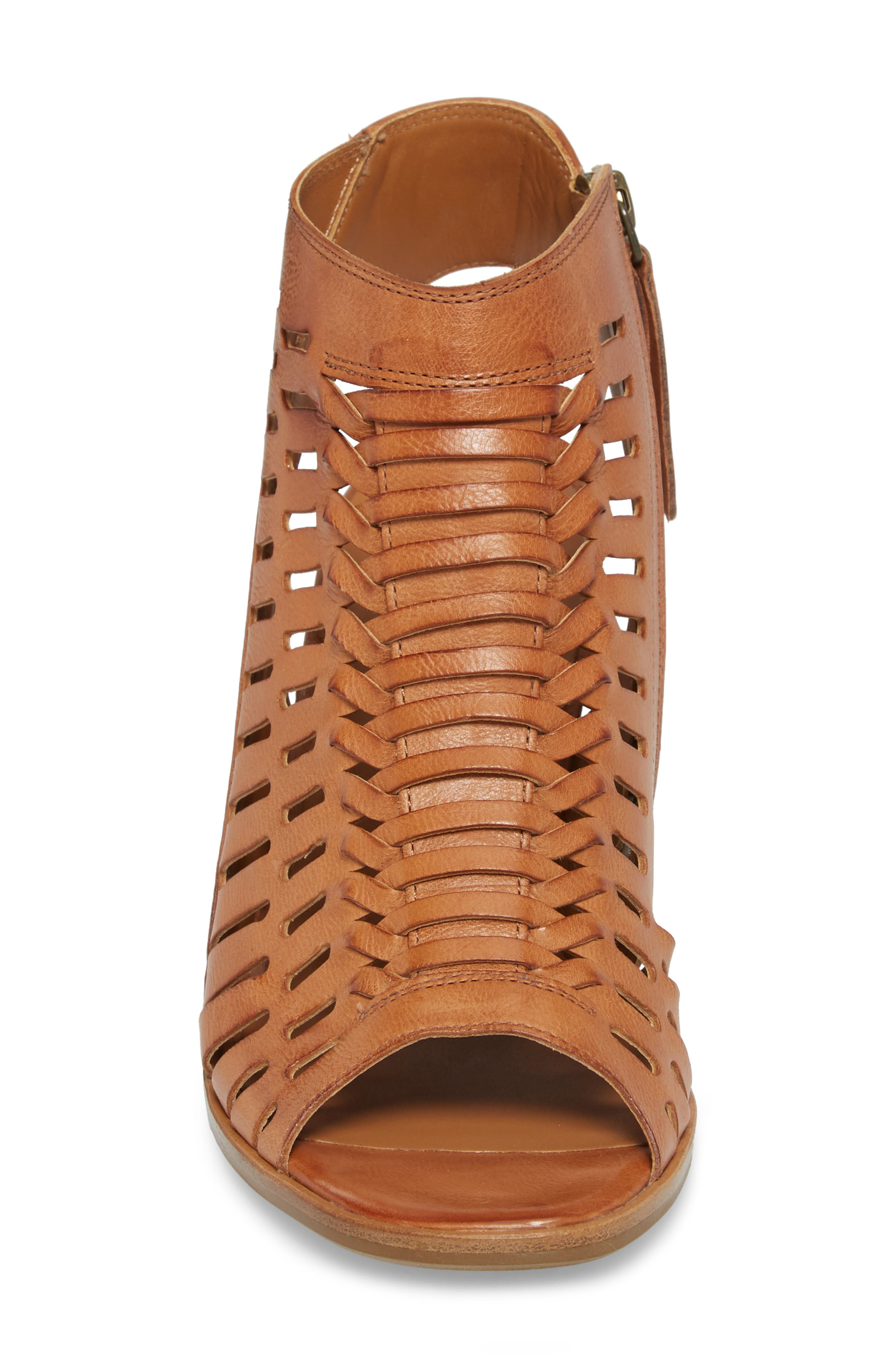 Rosa Woven Peep Toe Sandal,                             Alternate thumbnail 4, color,                             Cuoio Leather