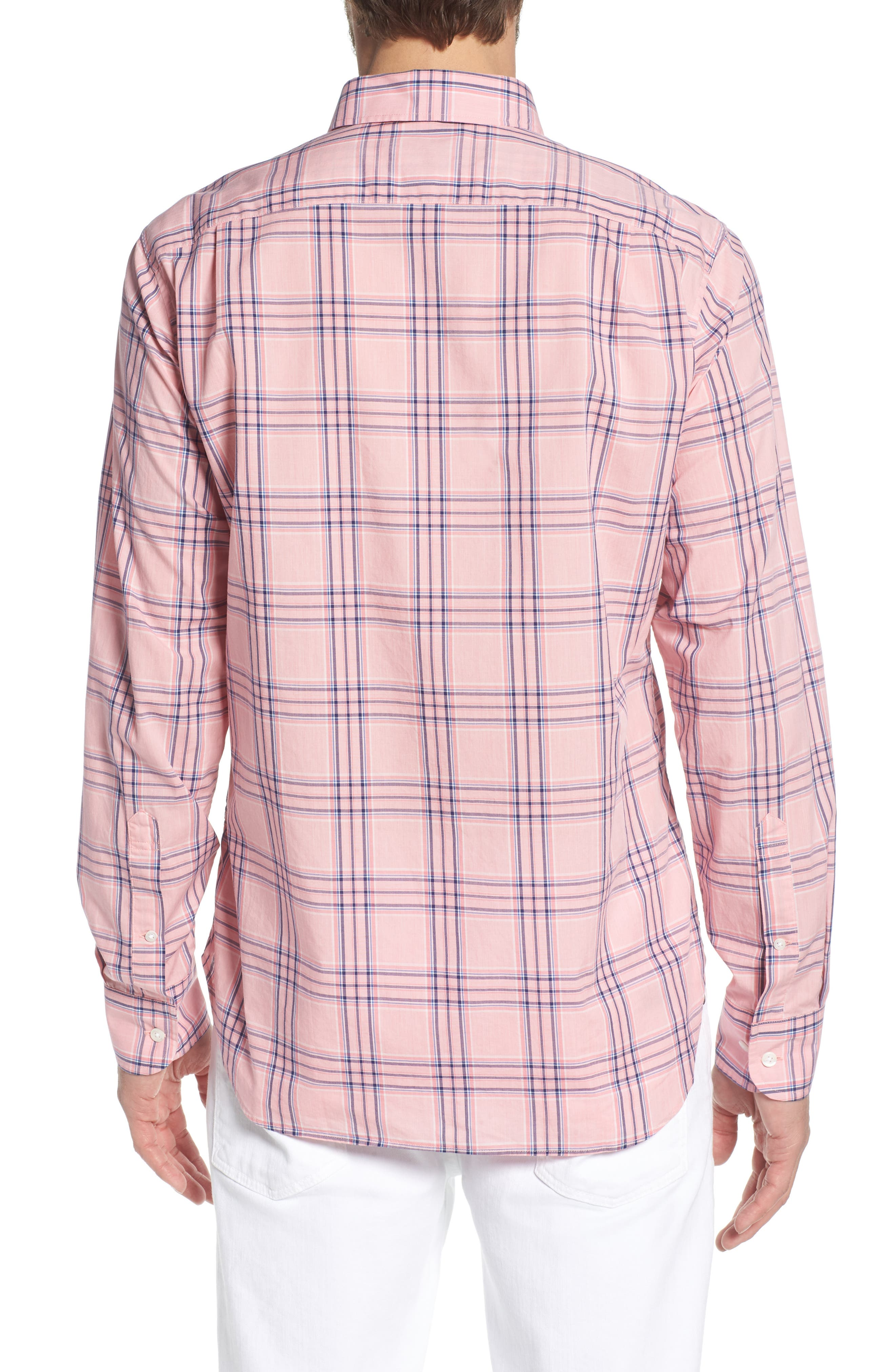 Summerweight Slim Fit Check Sport Shirt,                             Alternate thumbnail 3, color,                             Pearson Check - Peony Coral