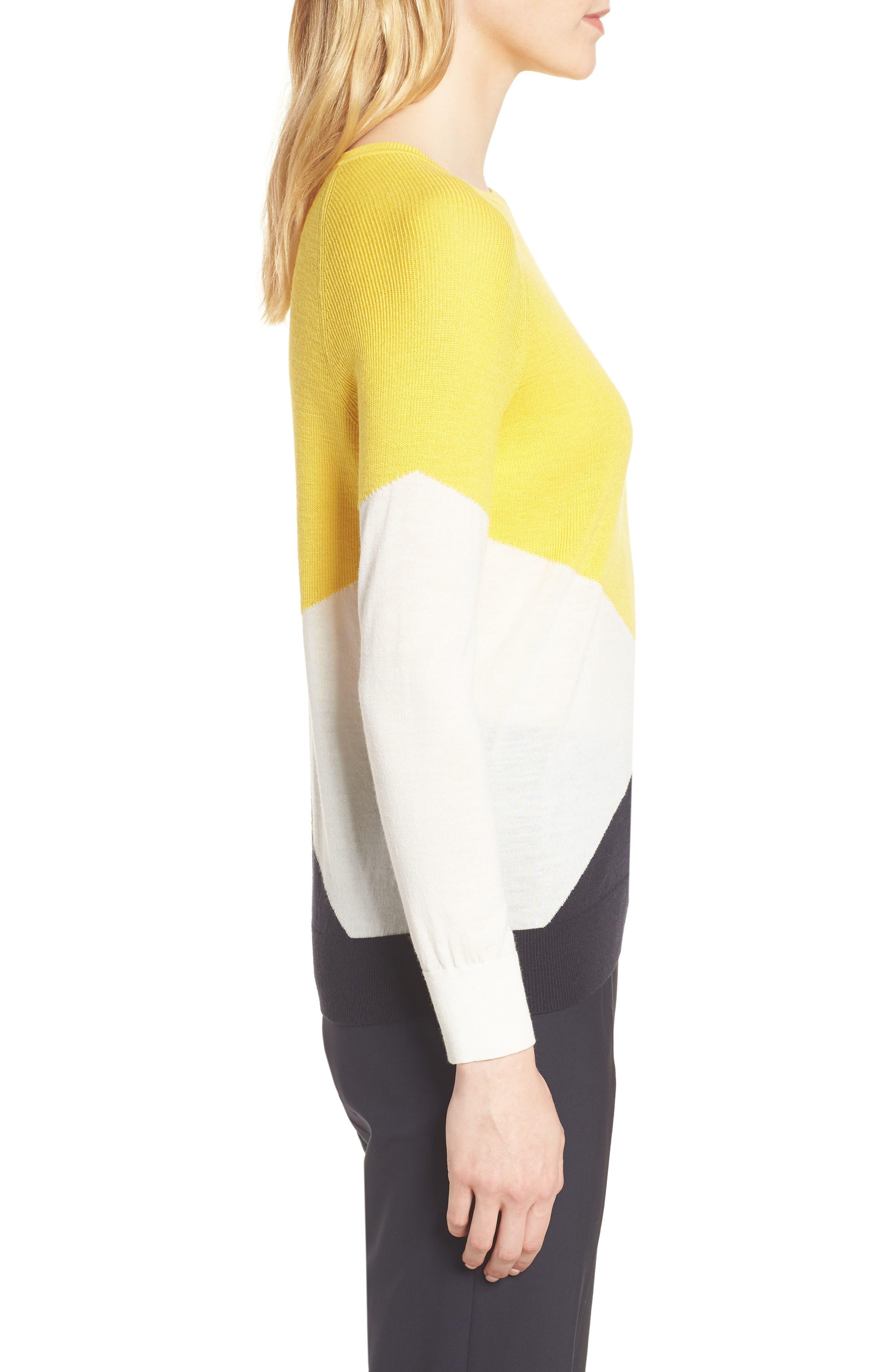 Farrow Colorblock Wool Sweater,                             Alternate thumbnail 3, color,                             Sun Yellow Fantasy