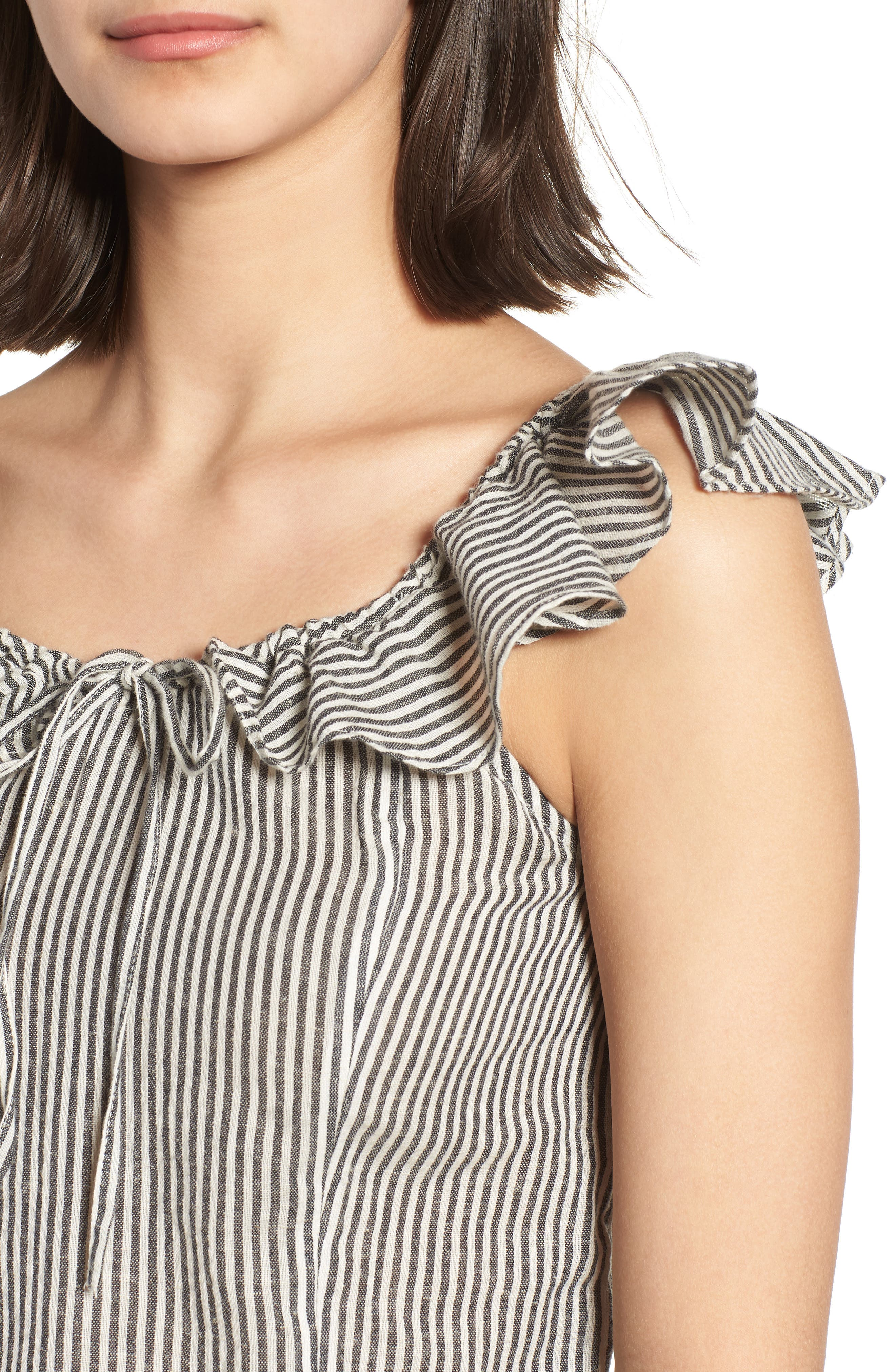 Ruffle Neck Top,                             Alternate thumbnail 4, color,                             Ivory Egret Victoria Stripe