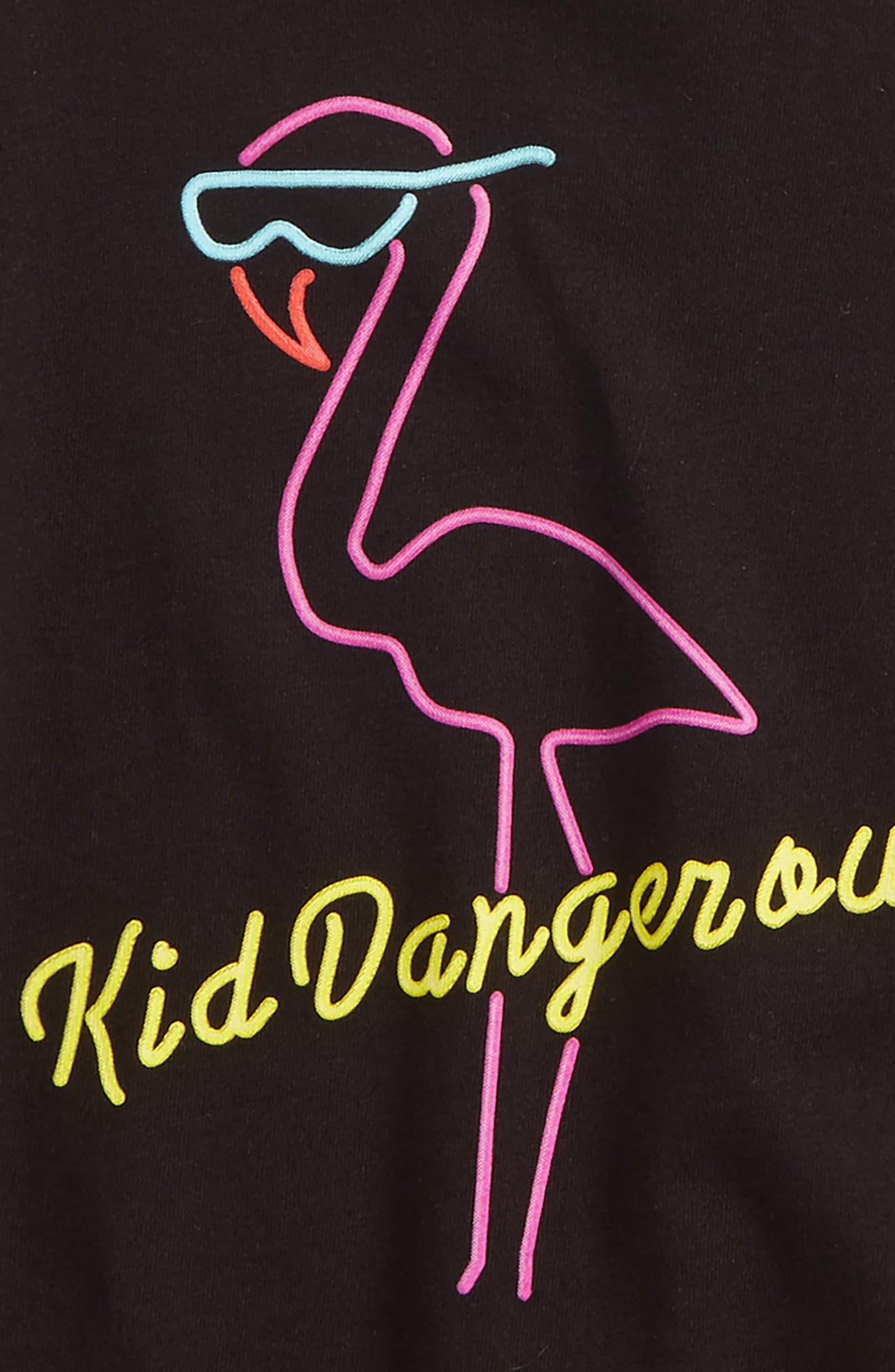 Flamingo Graphic T-Shirt,                             Alternate thumbnail 2, color,                             Black