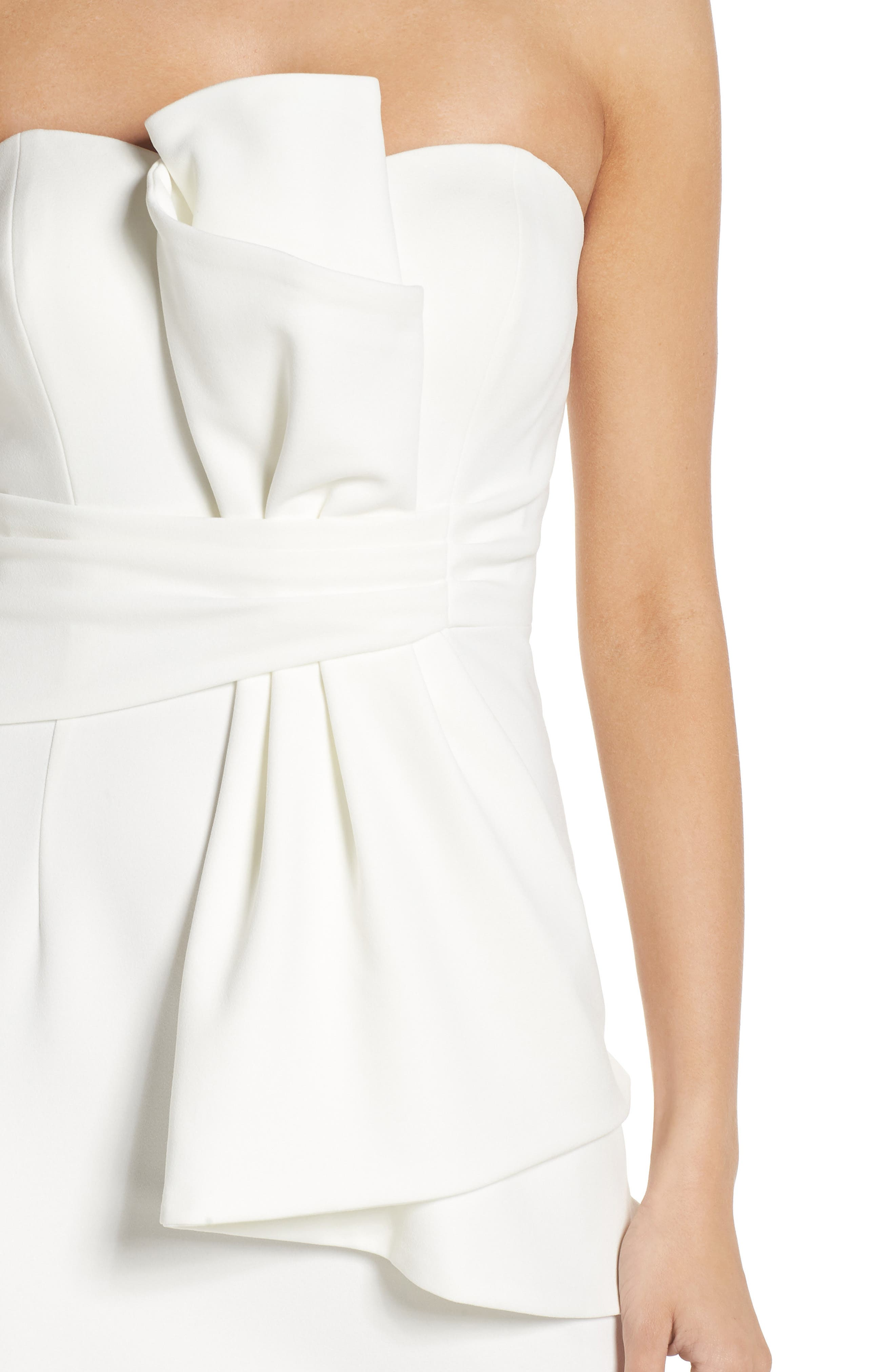 Strapless Bow Column Gown,                             Alternate thumbnail 4, color,                             Ivory