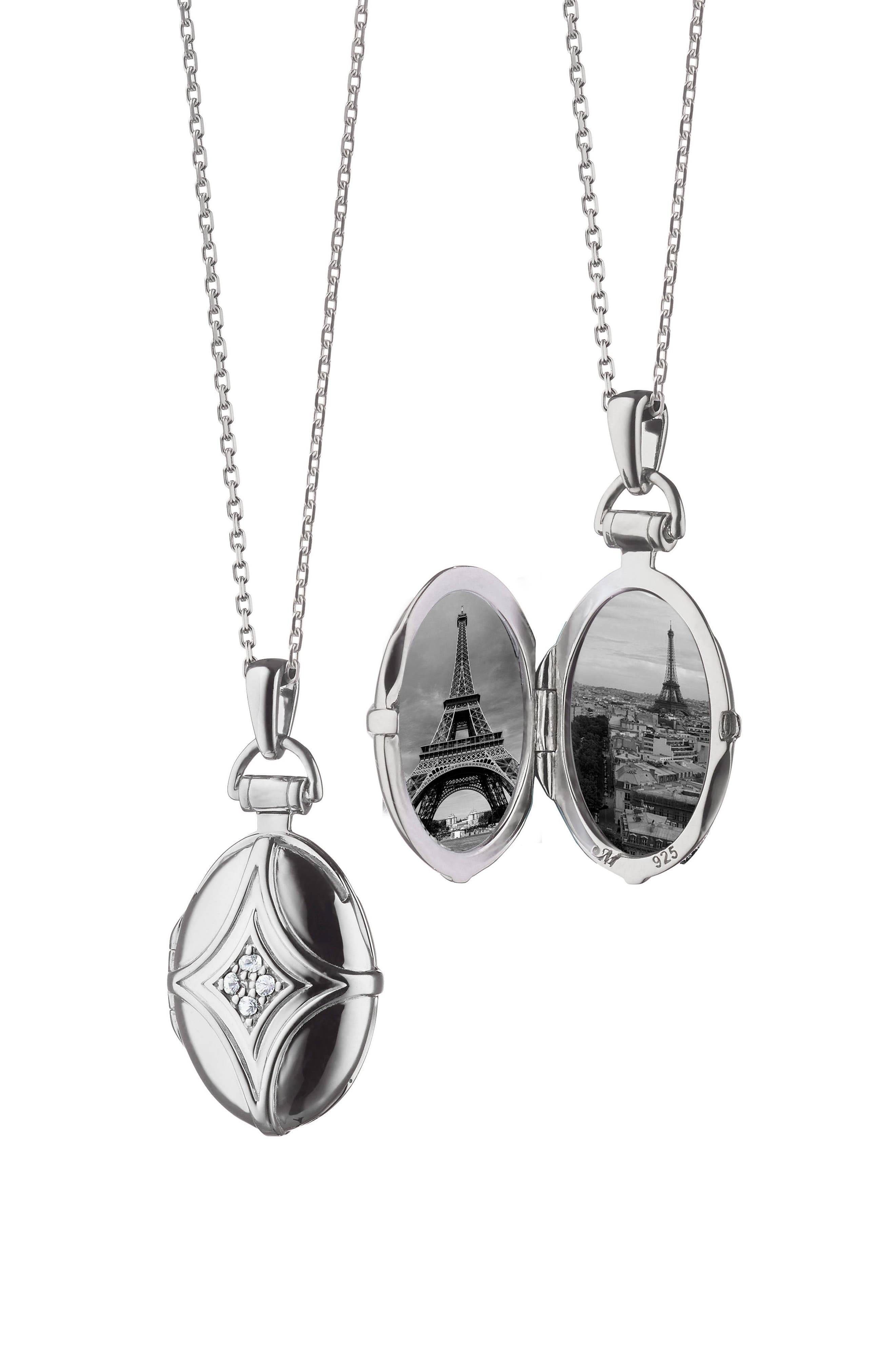 White Sapphire Bridle Locket Necklace,                         Main,                         color, Sterling Silver