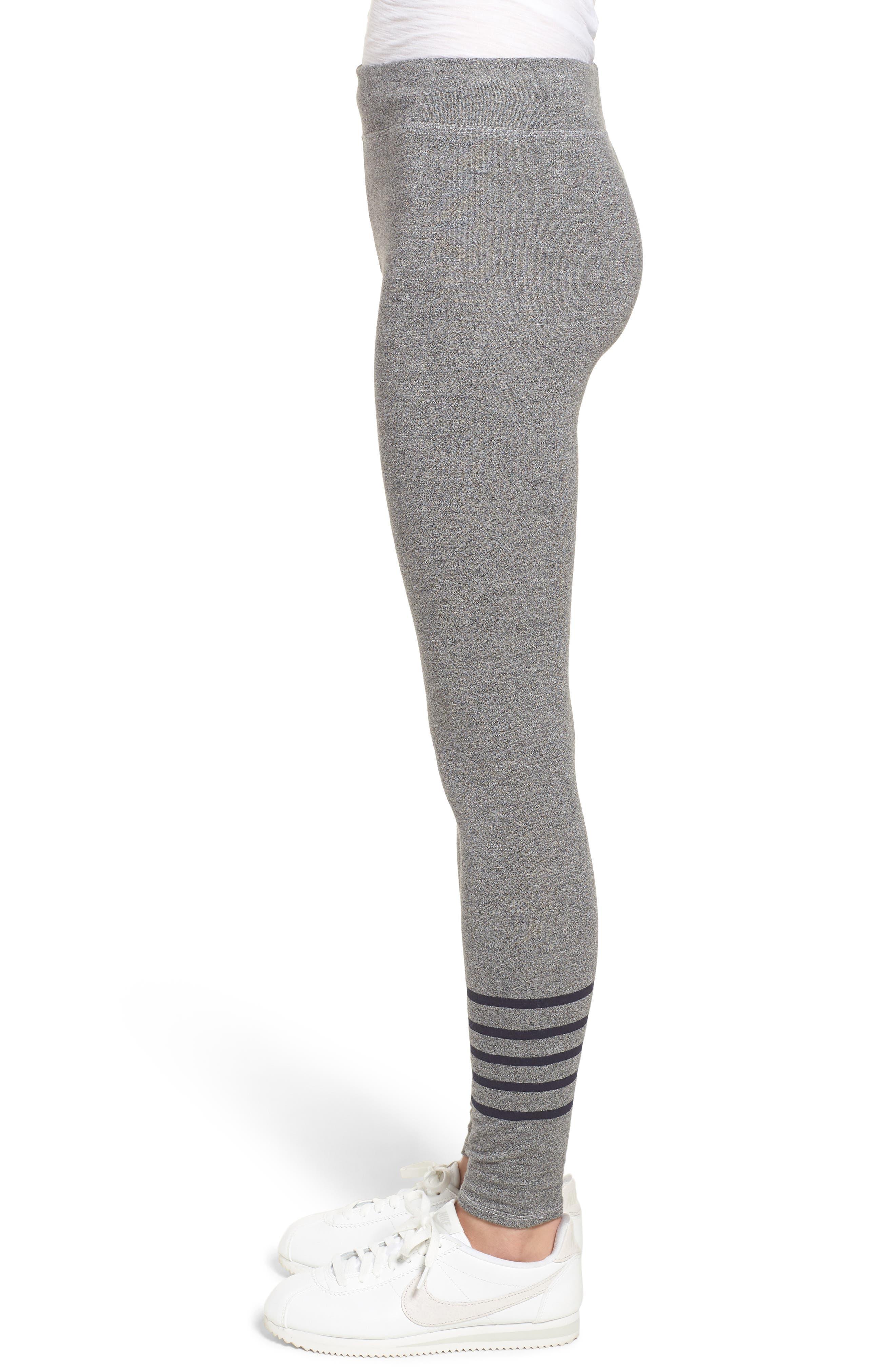 Stripe Yoga Pants,                             Alternate thumbnail 3, color,                             Heather Grey