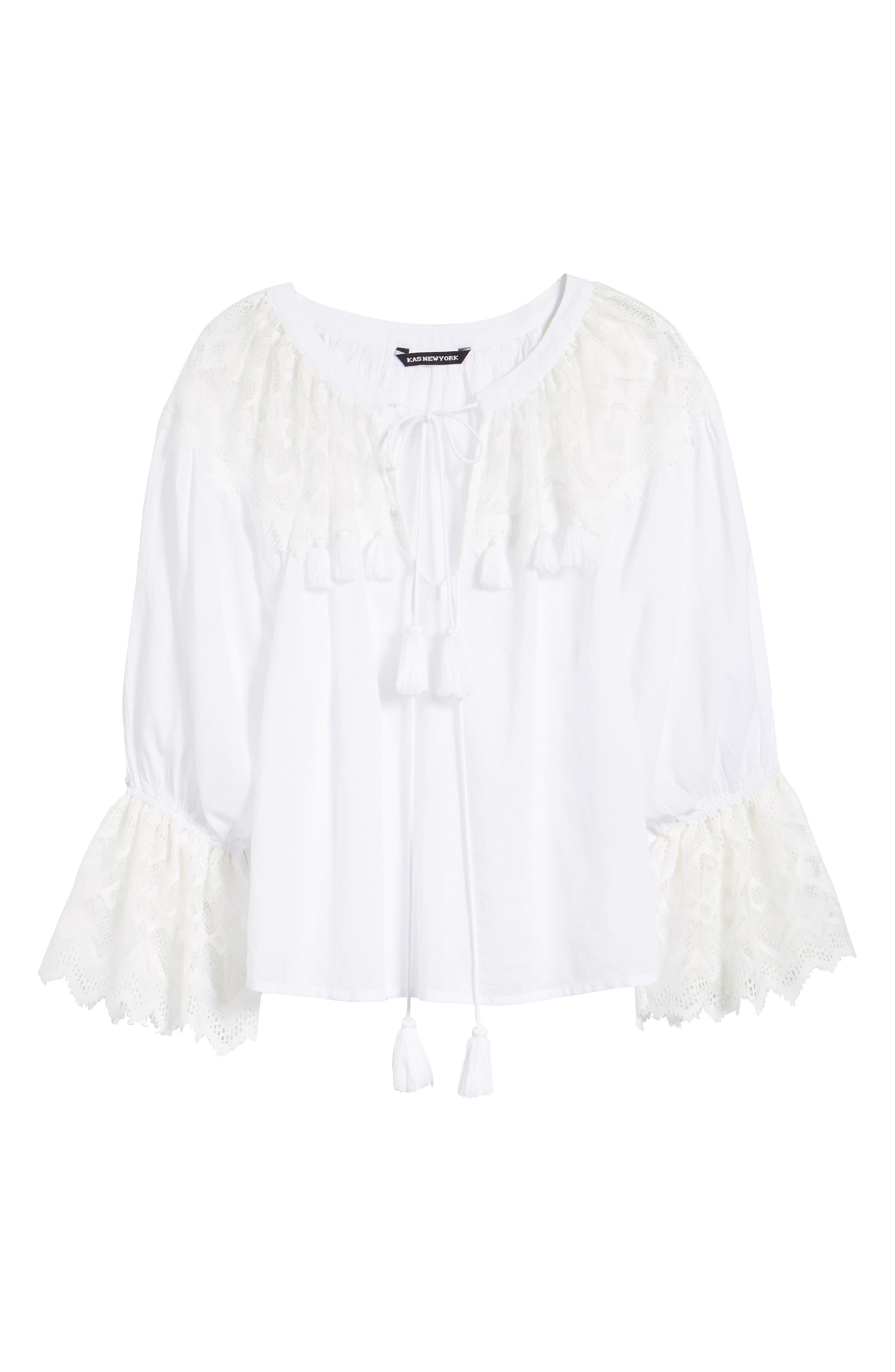Alternate Image 6  - KAS NEW YORK Berkley White Lace Cotton Blend Top