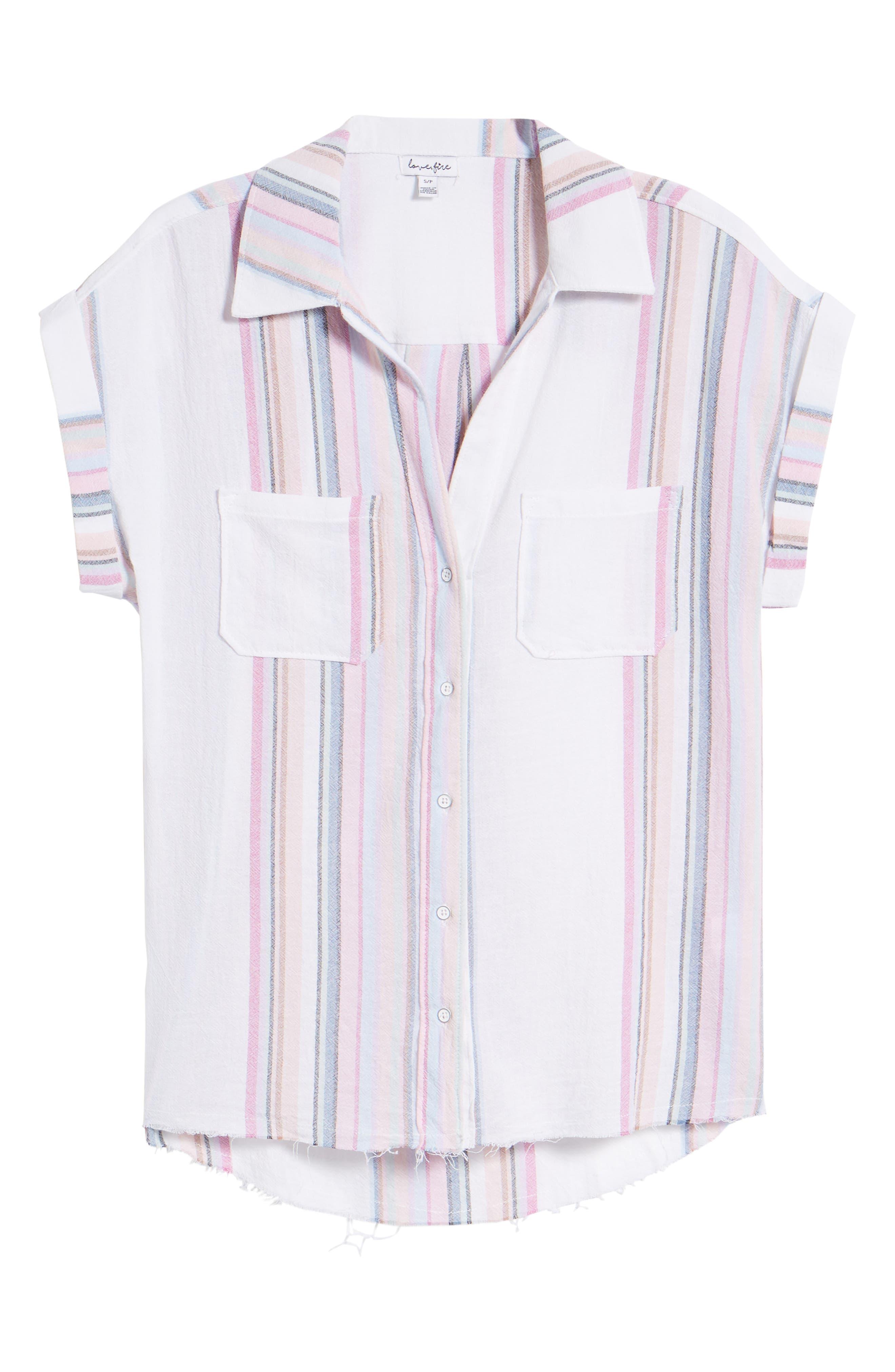Stripe Camp Shirt,                             Alternate thumbnail 6, color,                             Josephina Rainbow Stripe