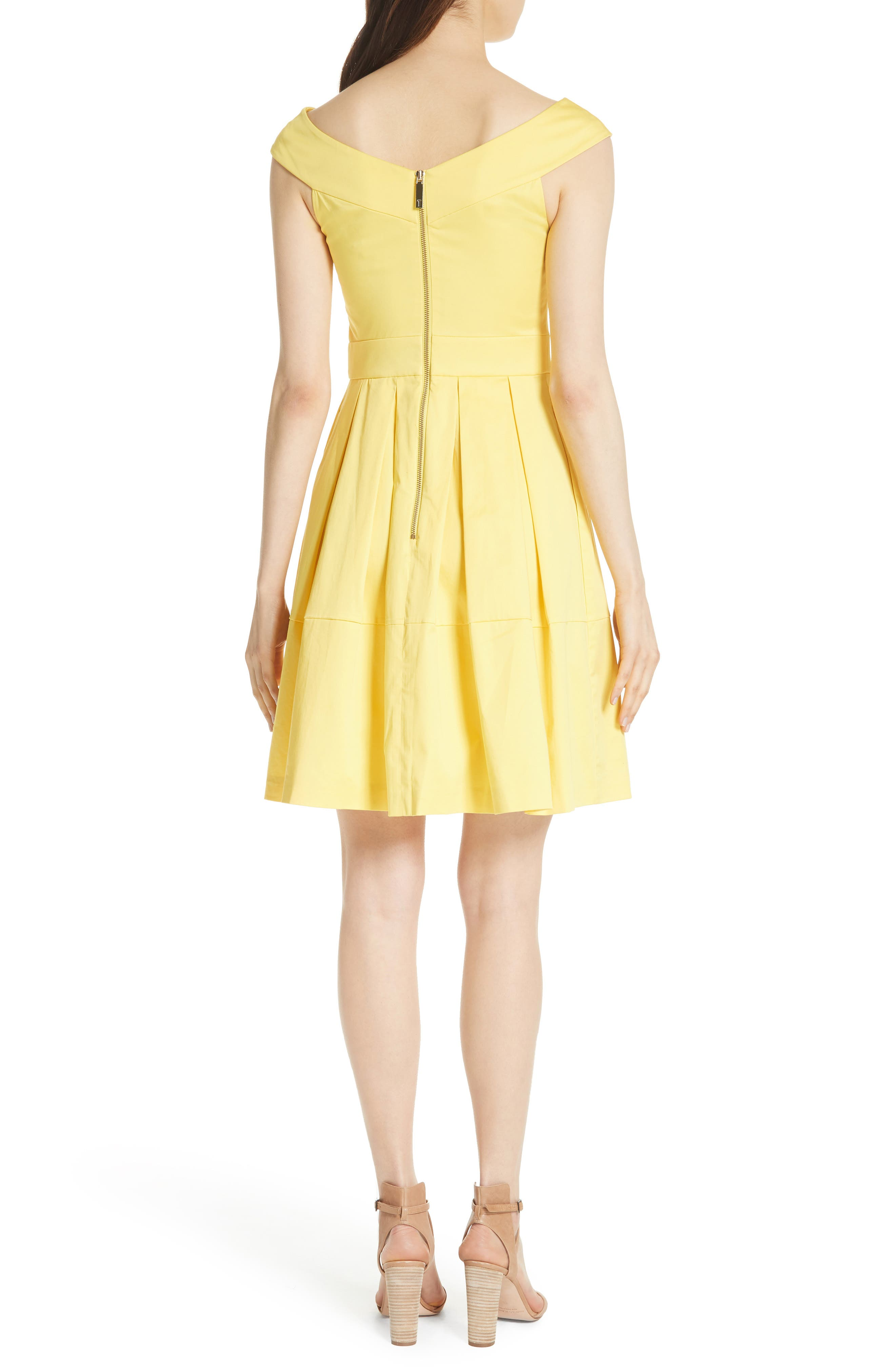 Jullee Off the Shoulder Stretch Cotton Dress,                             Alternate thumbnail 2, color,                             Yellow