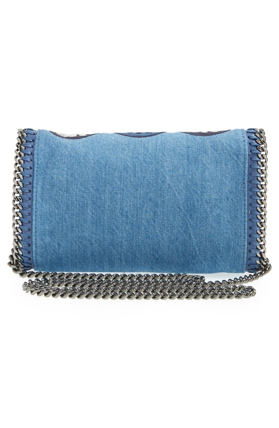 'Falabella - Adorned' Denim Crossbody Bag,                             Alternate thumbnail 3, color,                             Blue