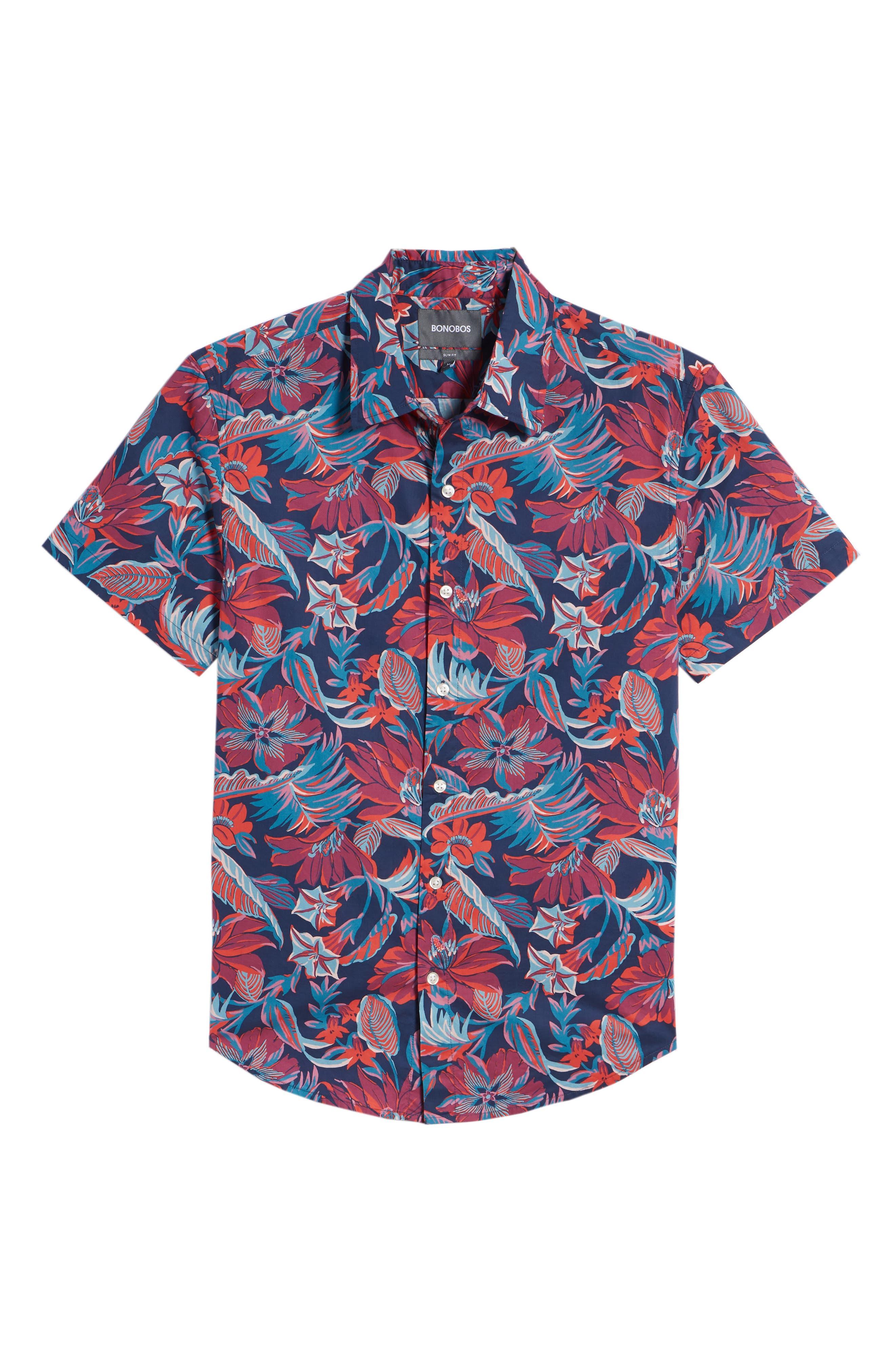 Slim Fit Print Sport Shirt,                             Alternate thumbnail 6, color,                             Pavilion Floral - Deep Pacific