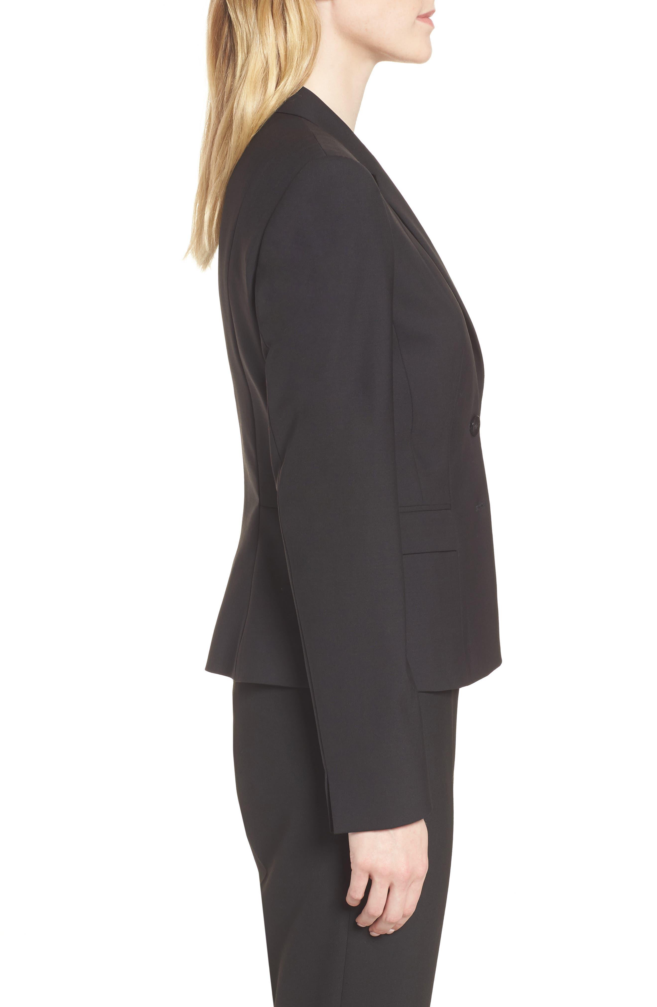 Jaru Stretch Wool Suit Jacket,                             Alternate thumbnail 3, color,                             Black