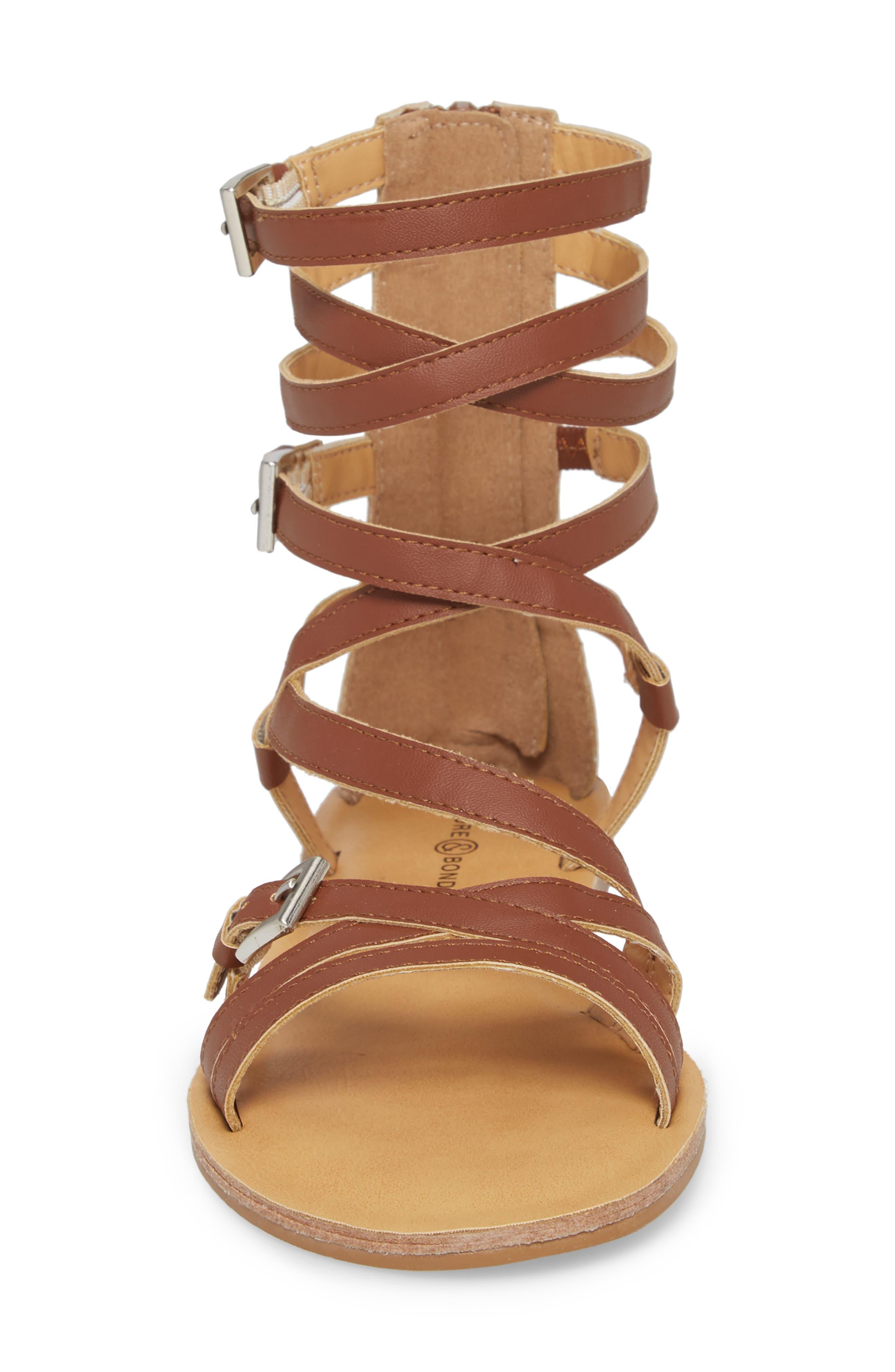 Kailey Gladiator Sandal,                             Alternate thumbnail 4, color,                             Cognac Faux Leather