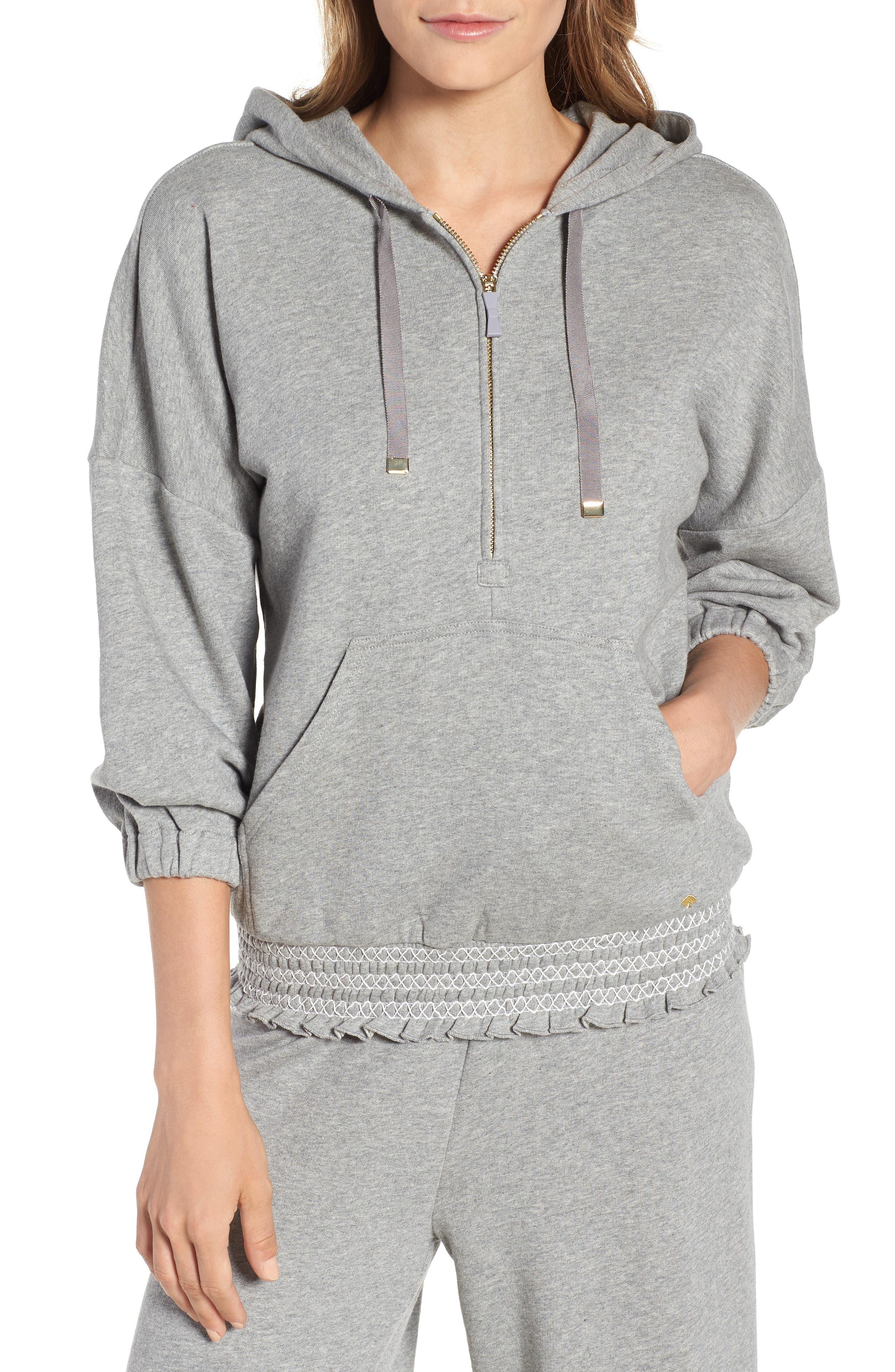 smocked hoodie sweatshirt,                             Main thumbnail 1, color,                             Flint Heather