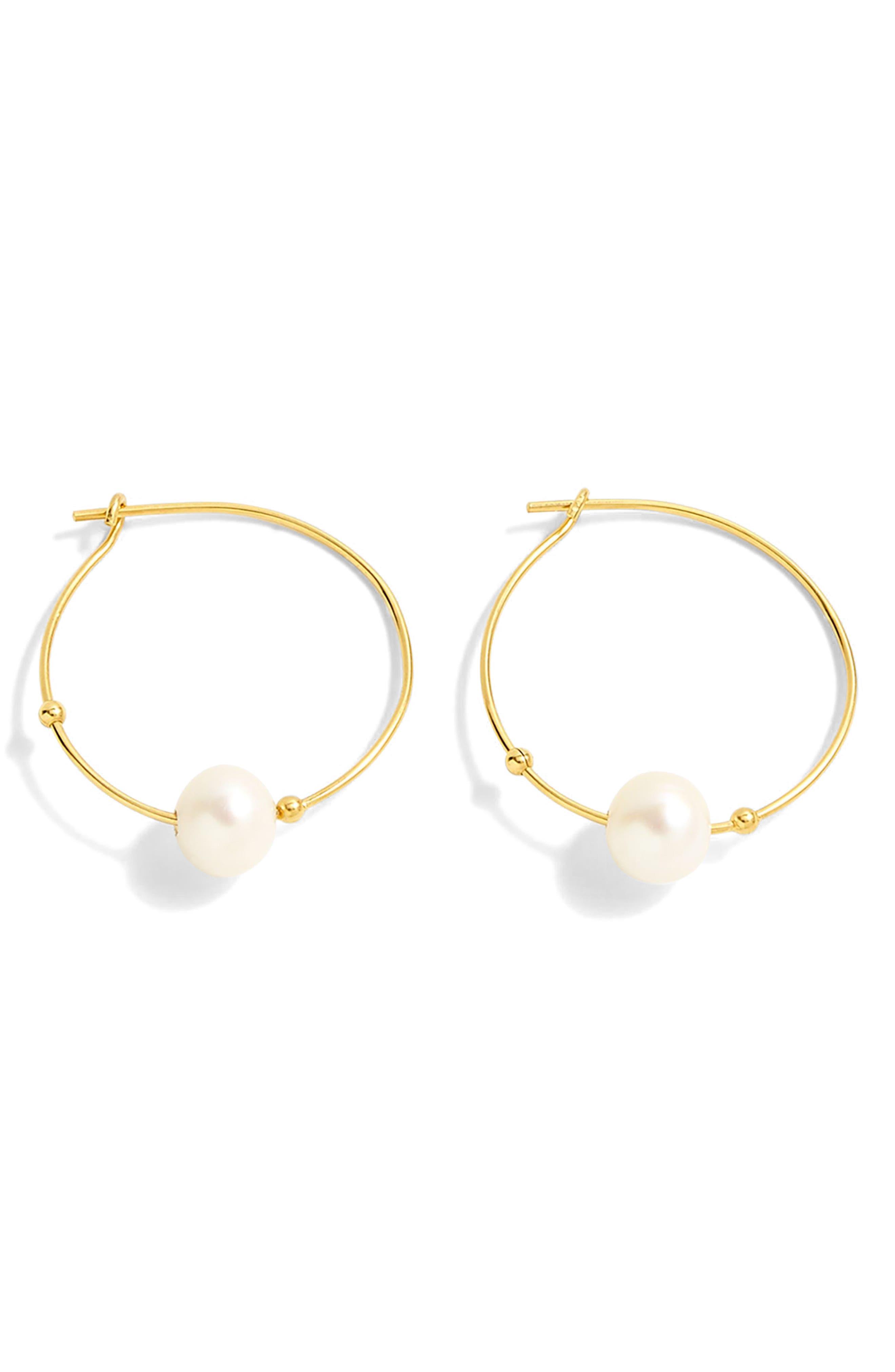 J.Crew Single Pearl Hoop Earrings,                             Main thumbnail 1, color,                             Gold