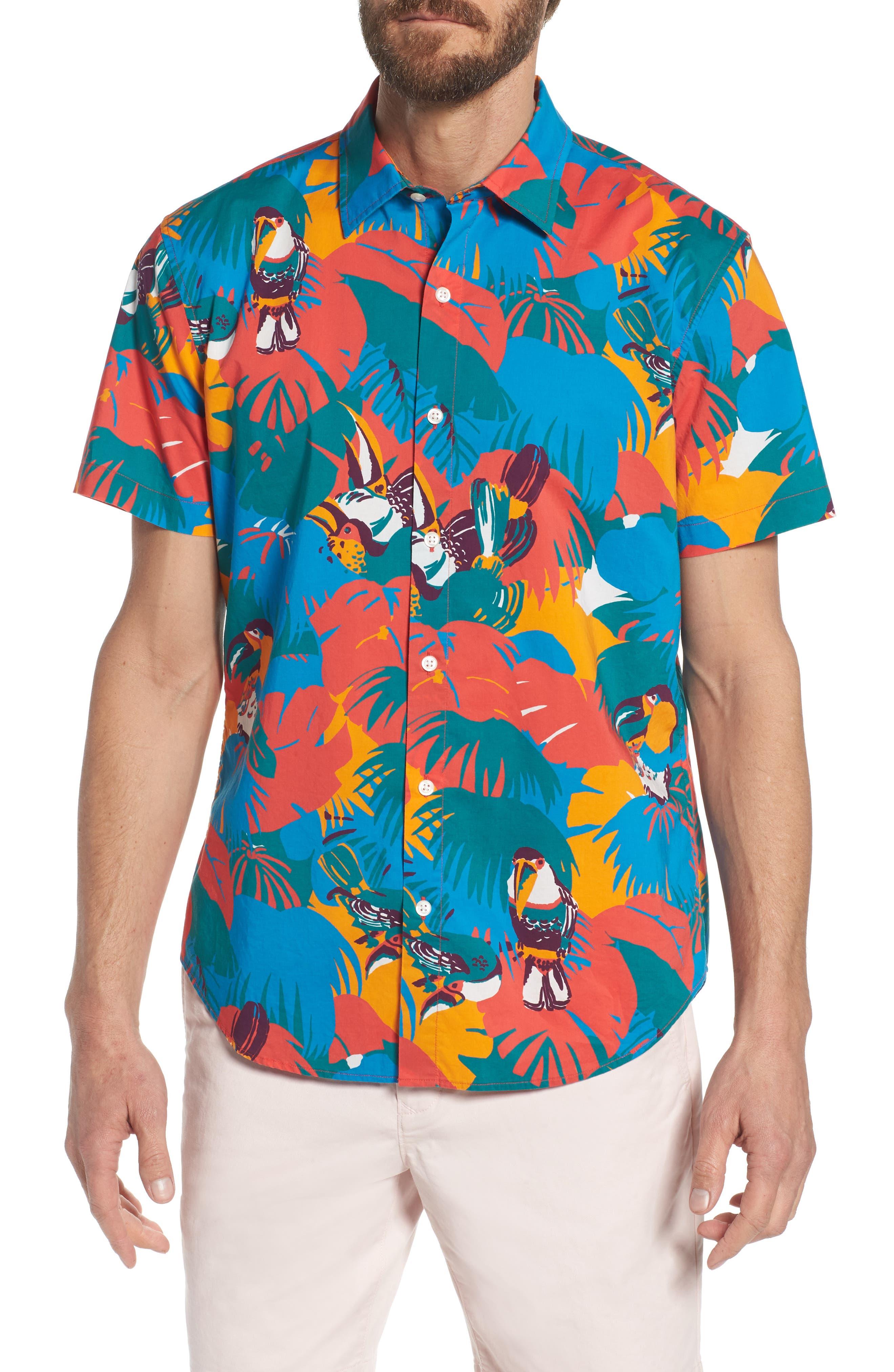 Slim Fit Print Sport Shirt,                         Main,                         color, Toucan Tropics - Coral Fan
