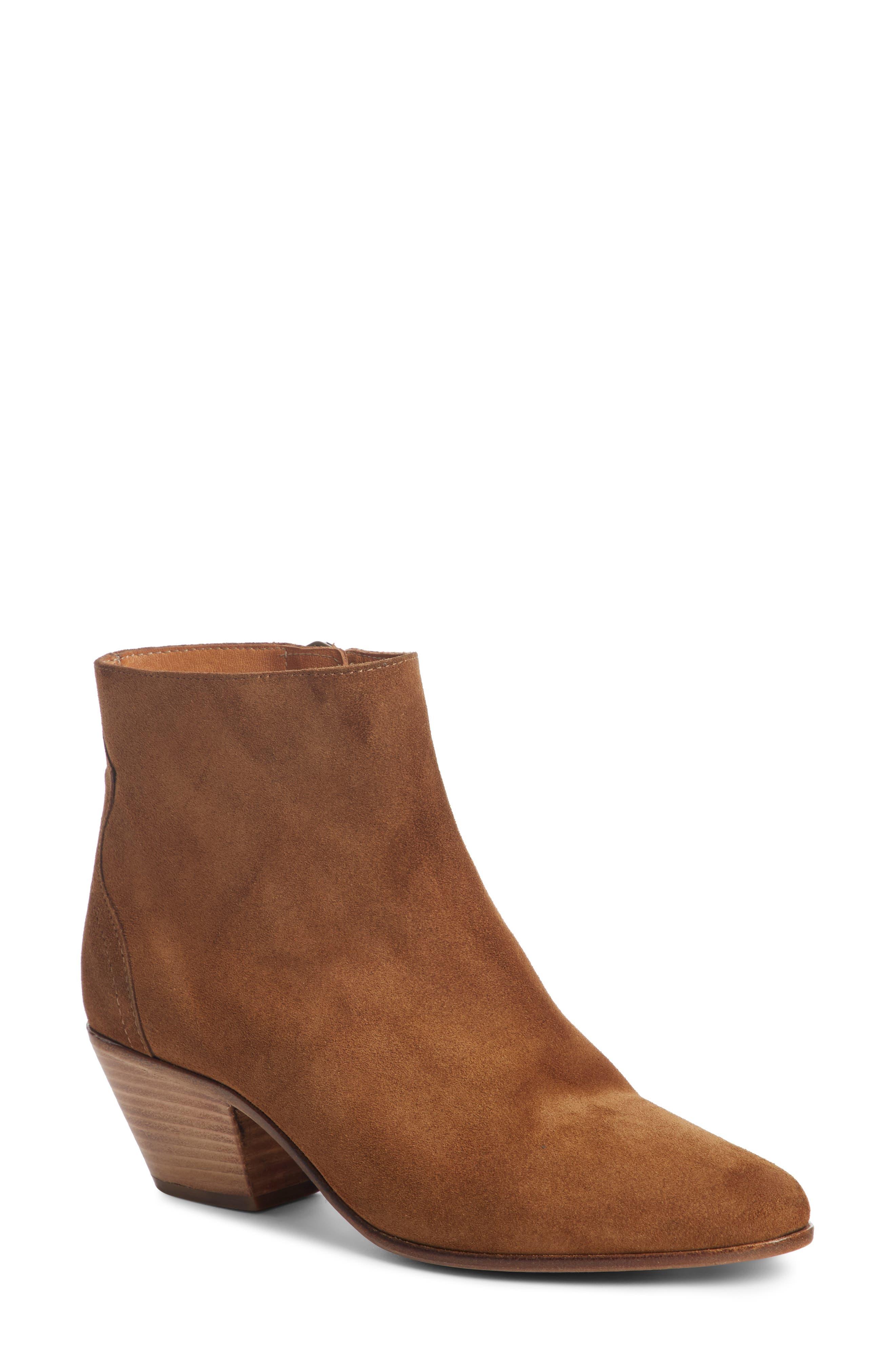 Dacken Stacked Heel Bootie,                         Main,                         color, Cognac