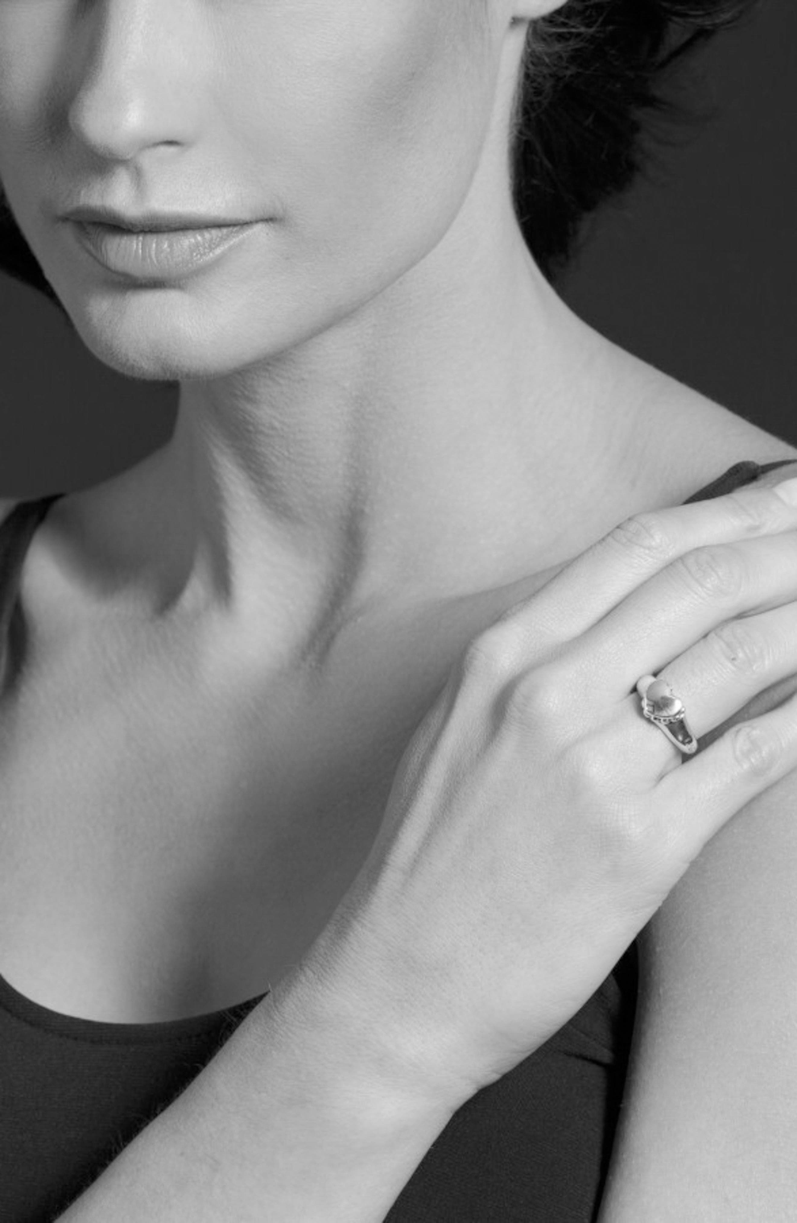 'Beloved' Small Heart Ring,                             Alternate thumbnail 3, color,                             Sterling Silver