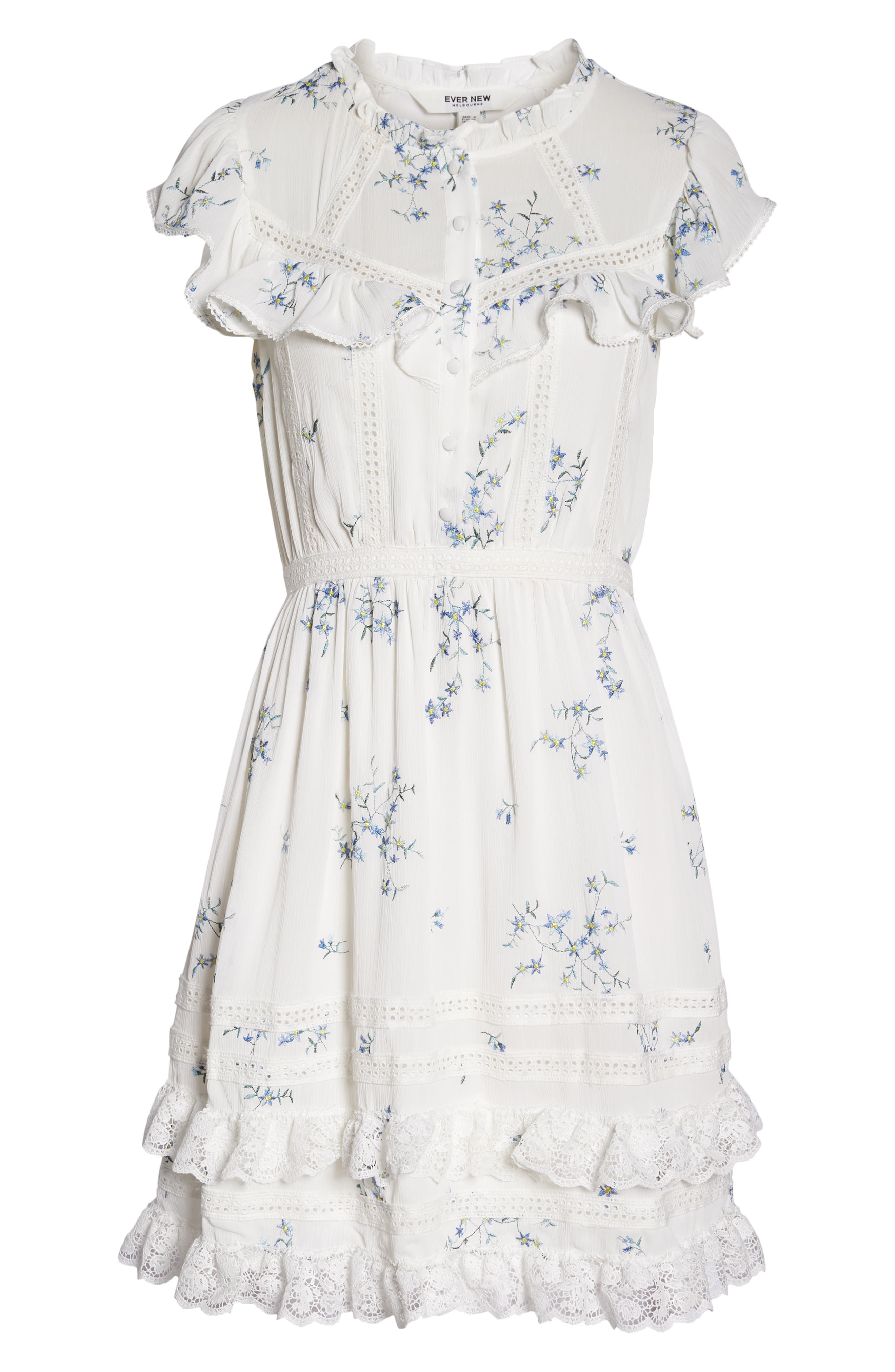 Embroidery & Lace Dress,                             Alternate thumbnail 7, color,                             White