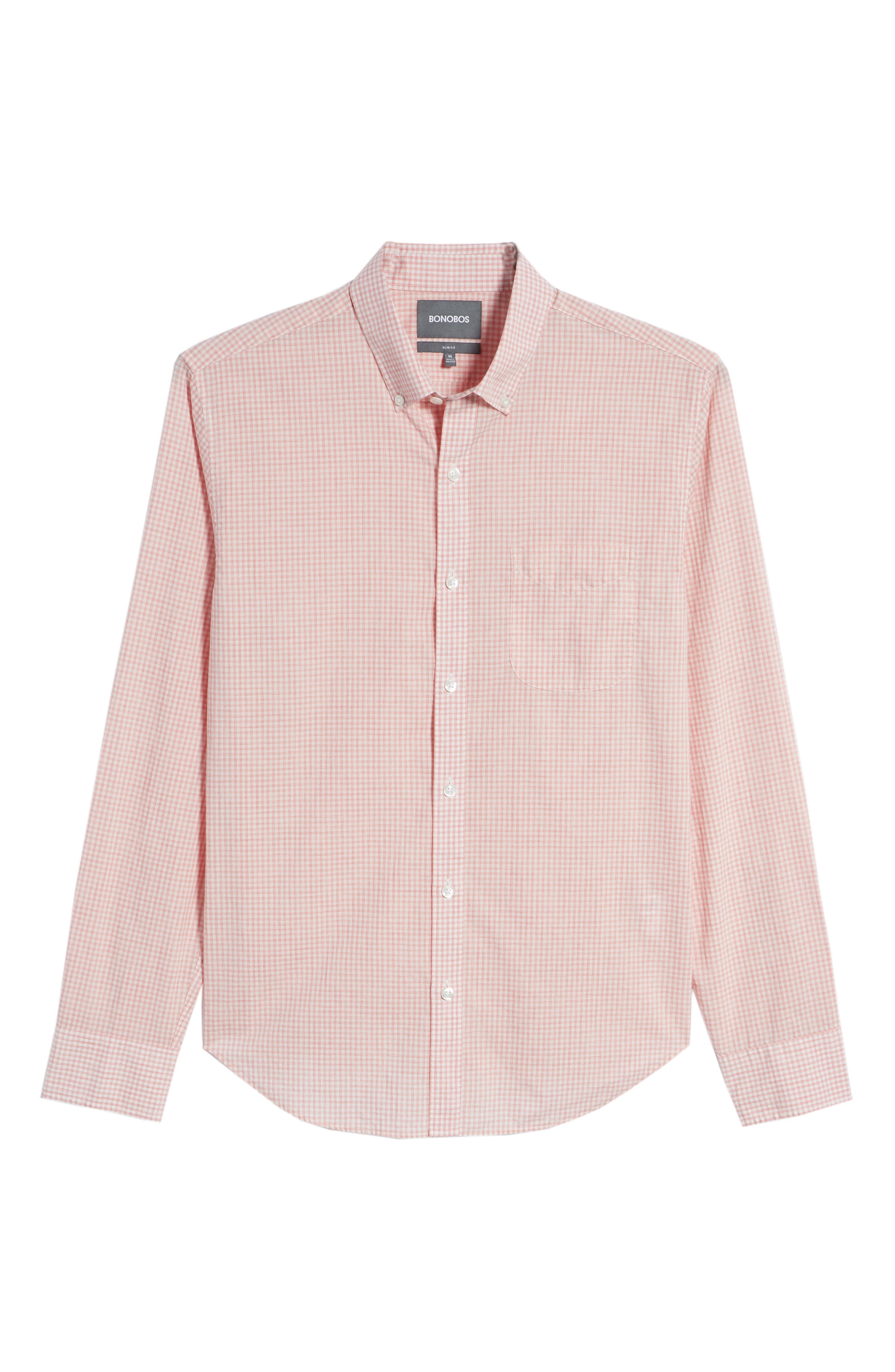 Summerweight Slim Fit Check Sport Shirt,                             Alternate thumbnail 6, color,                             Mini Gingham - Heather Rose