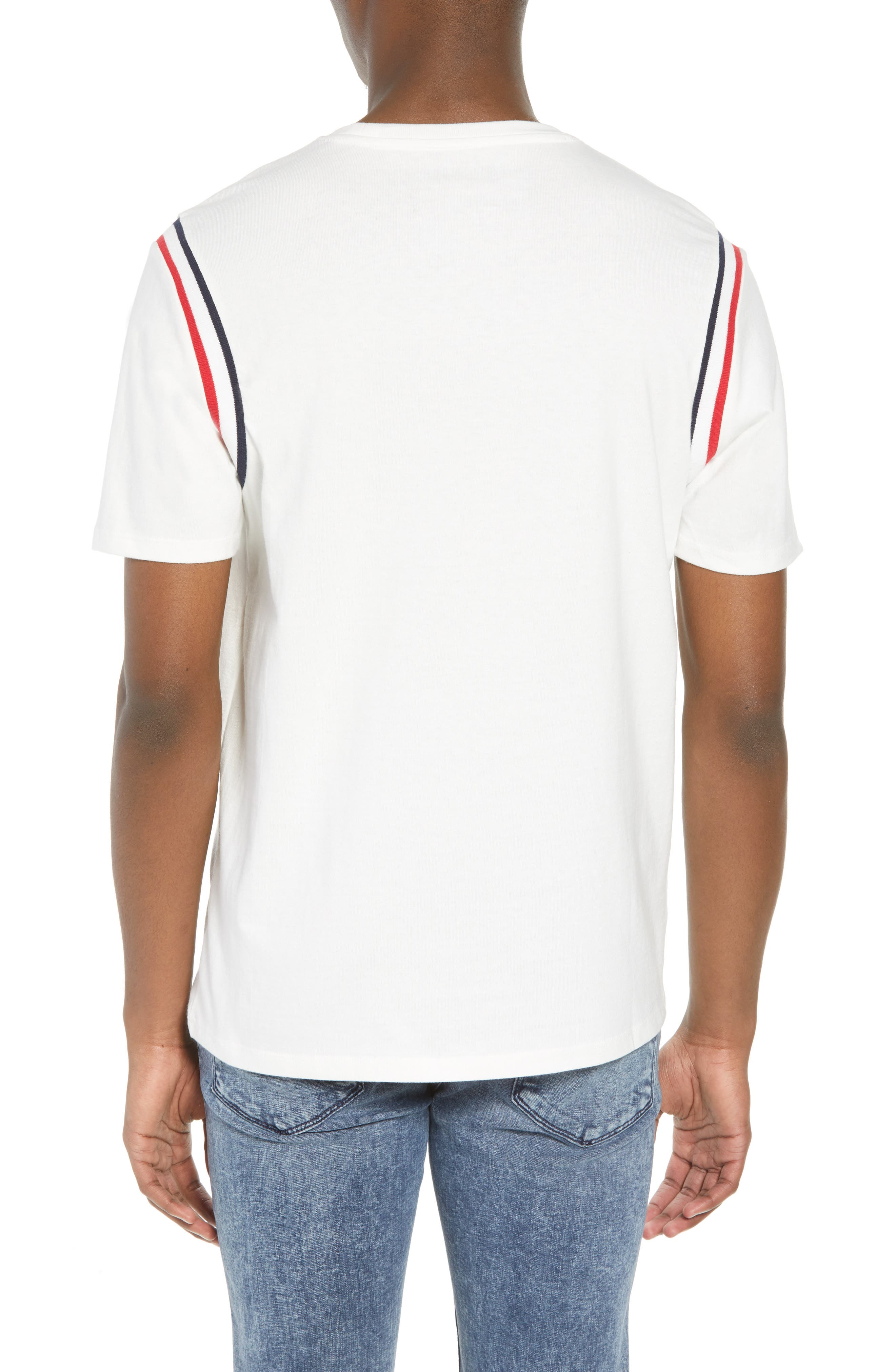 Ribbed Stripe T-Shirt,                             Alternate thumbnail 2, color,                             White