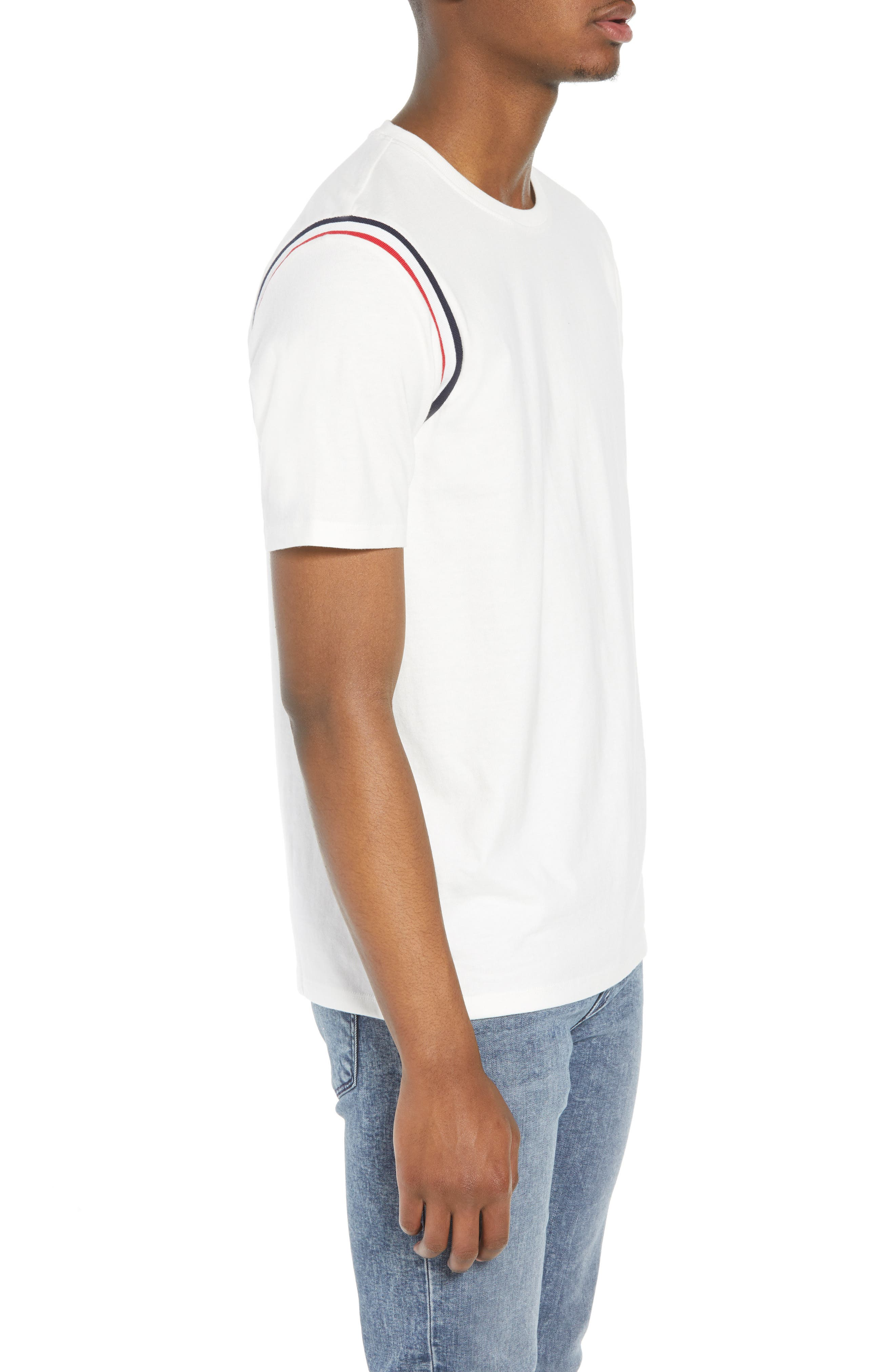 Ribbed Stripe T-Shirt,                             Alternate thumbnail 3, color,                             White