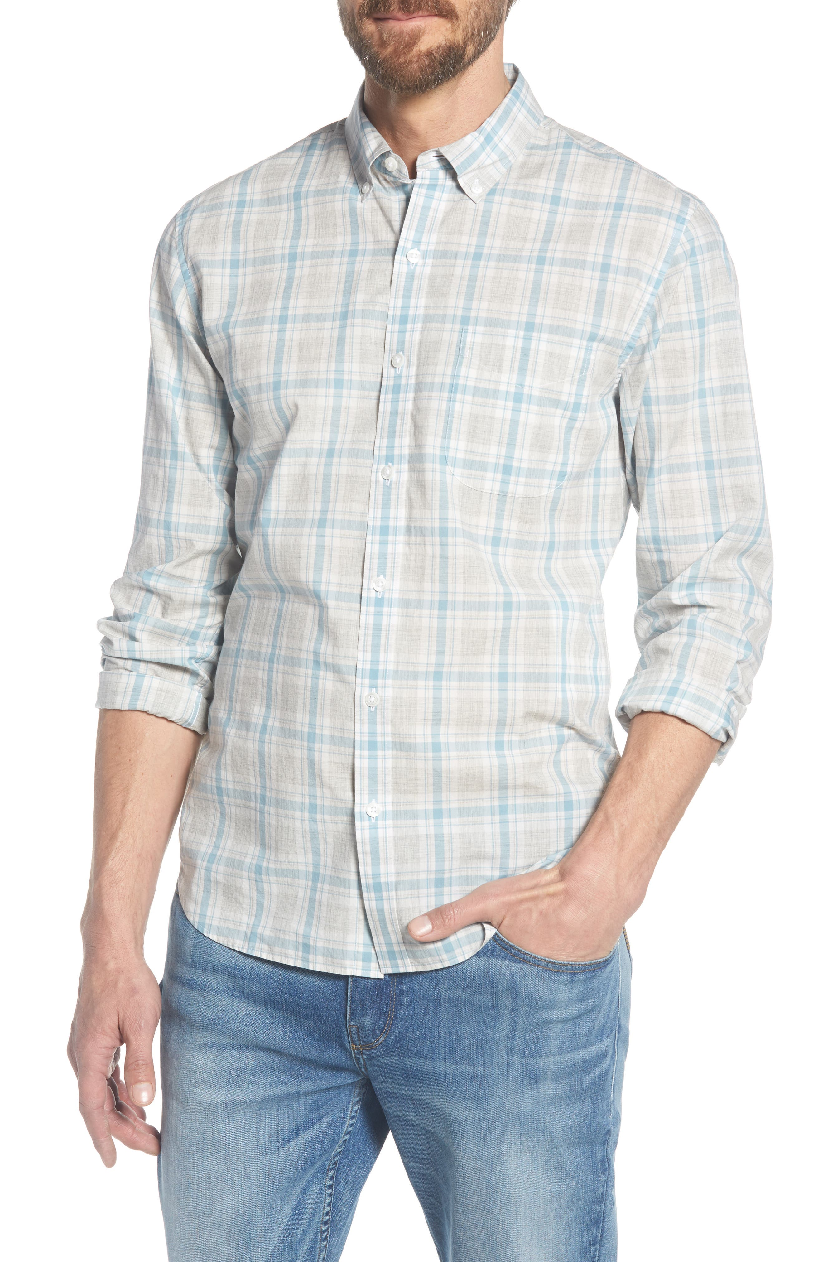 Summerweight Slim Fit Plaid Sport Shirt,                         Main,                         color, Hobbs Plaid - Grey Heather