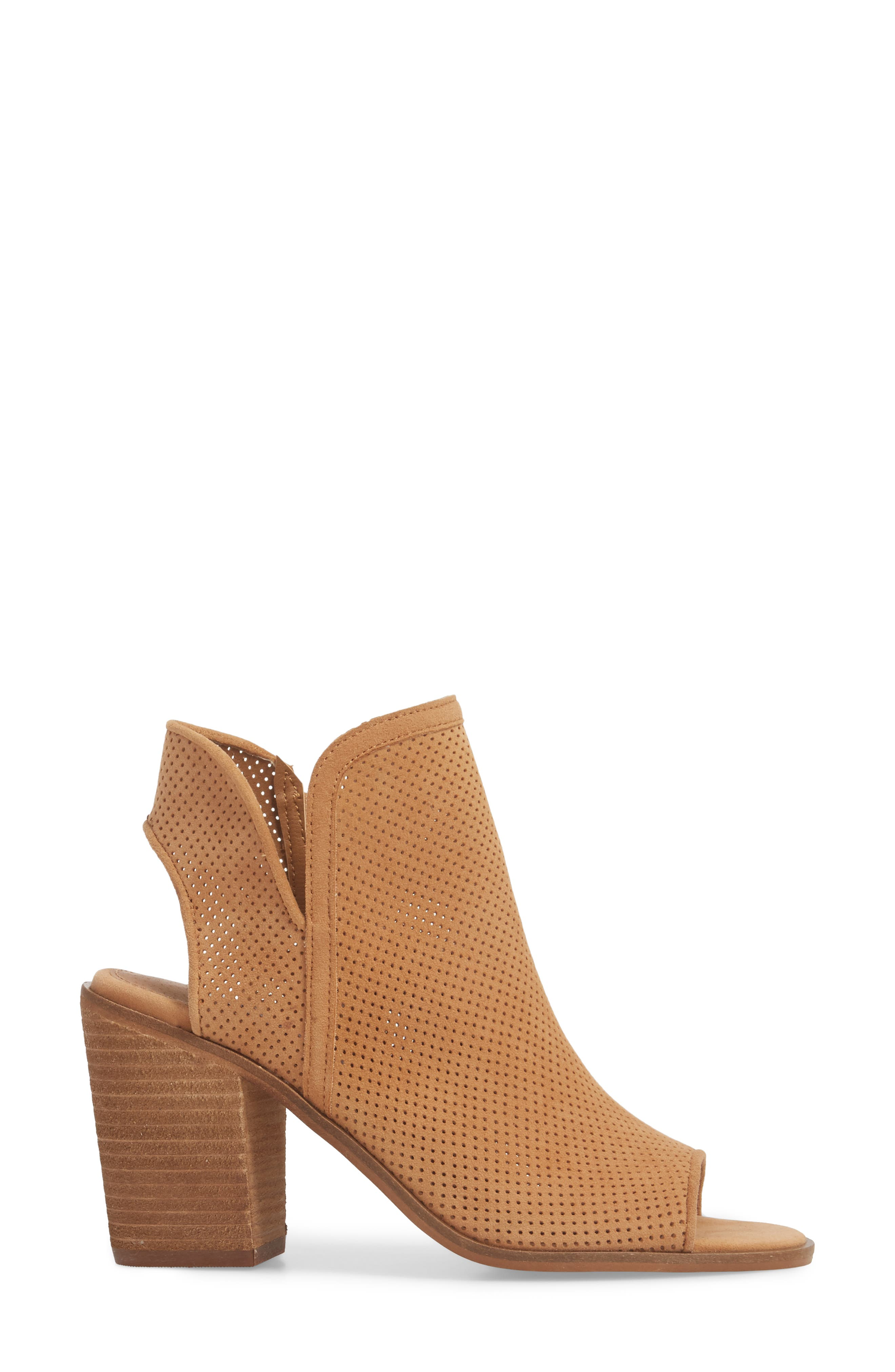 Maxine Perforated Bootie,                             Alternate thumbnail 3, color,                             Cognac Suede