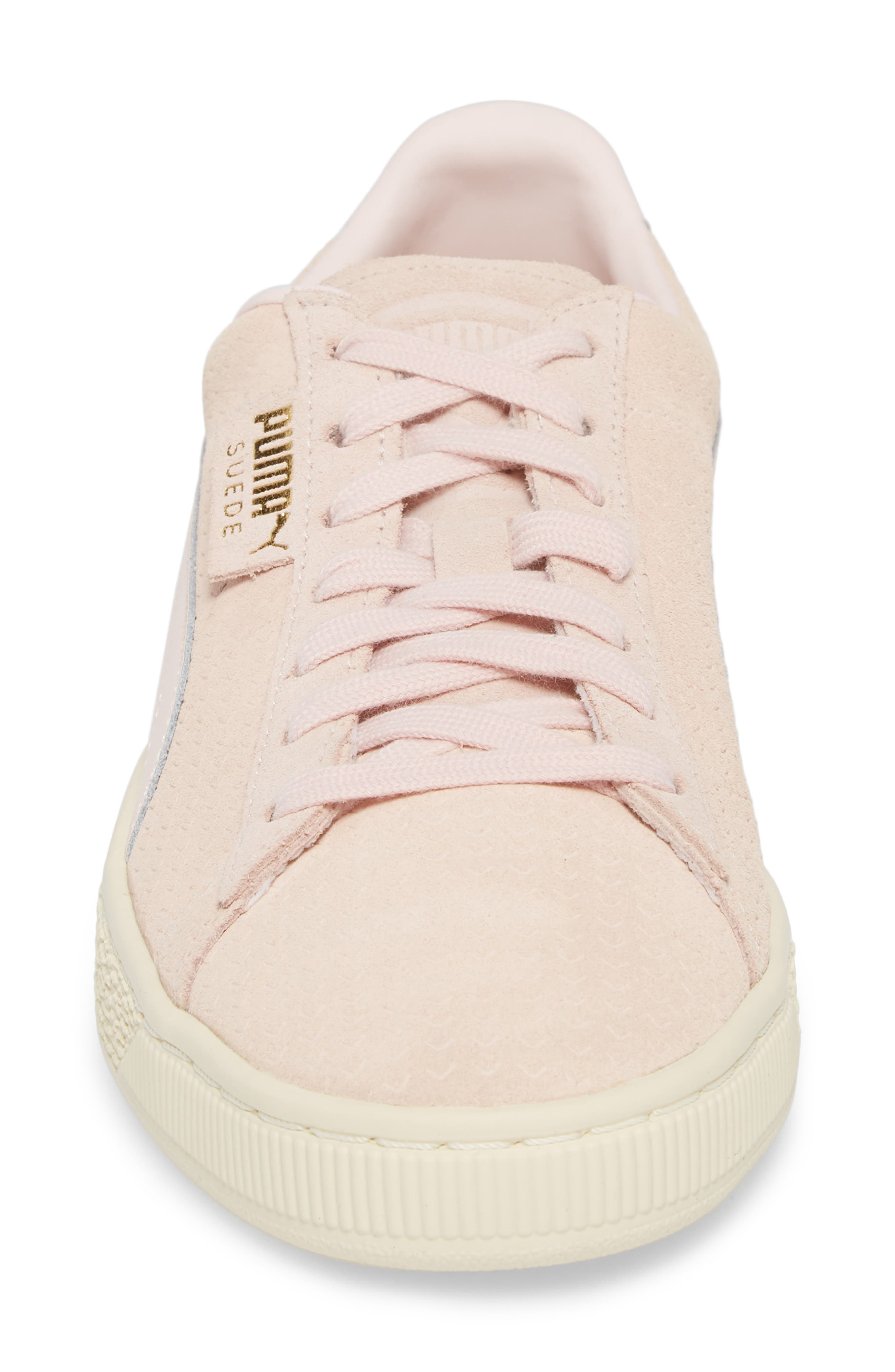 Suede Classic Perforation Sneaker,                             Alternate thumbnail 4, color,                             Pearl/ Whisper White Suede