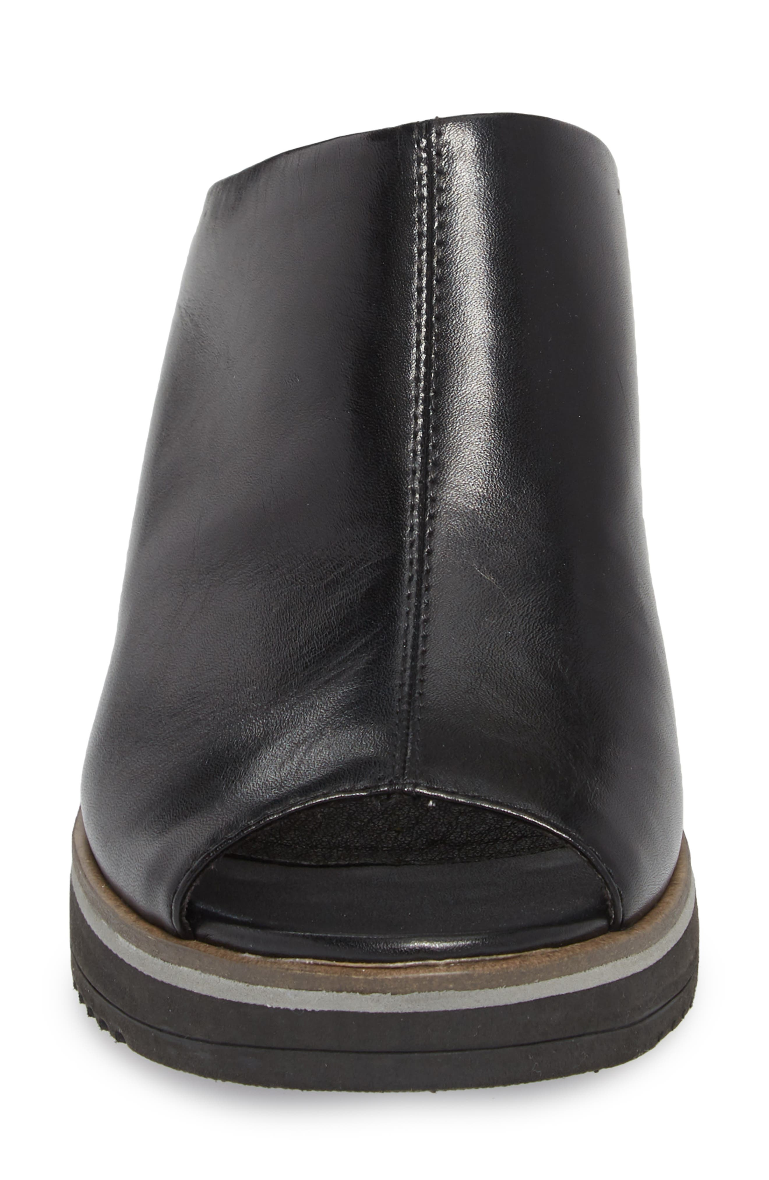 Alis Wedge Sandal,                             Alternate thumbnail 4, color,                             Black/ Black Leather