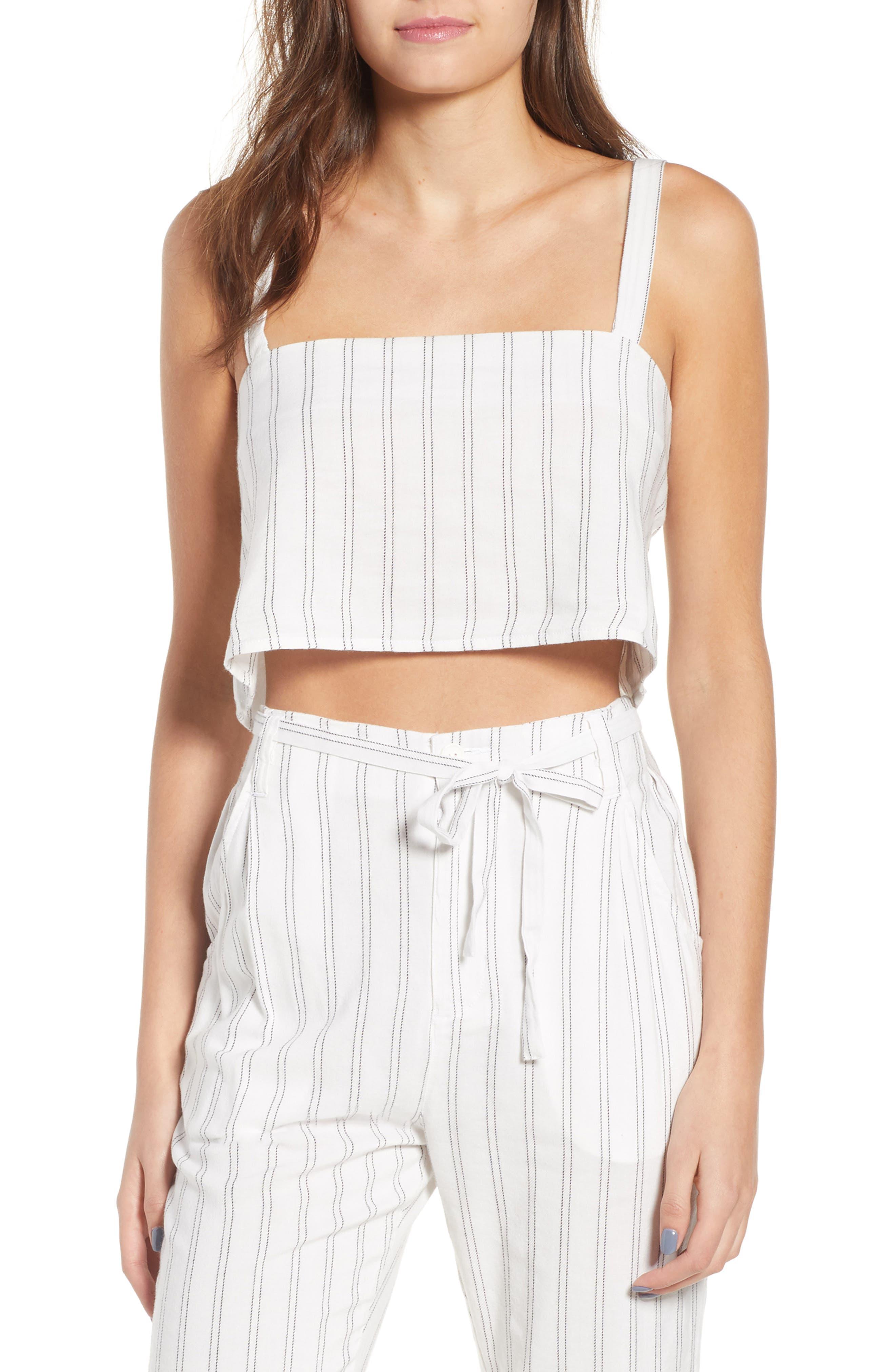 Tulum Stripe Crop Camisole,                         Main,                         color, White Multi