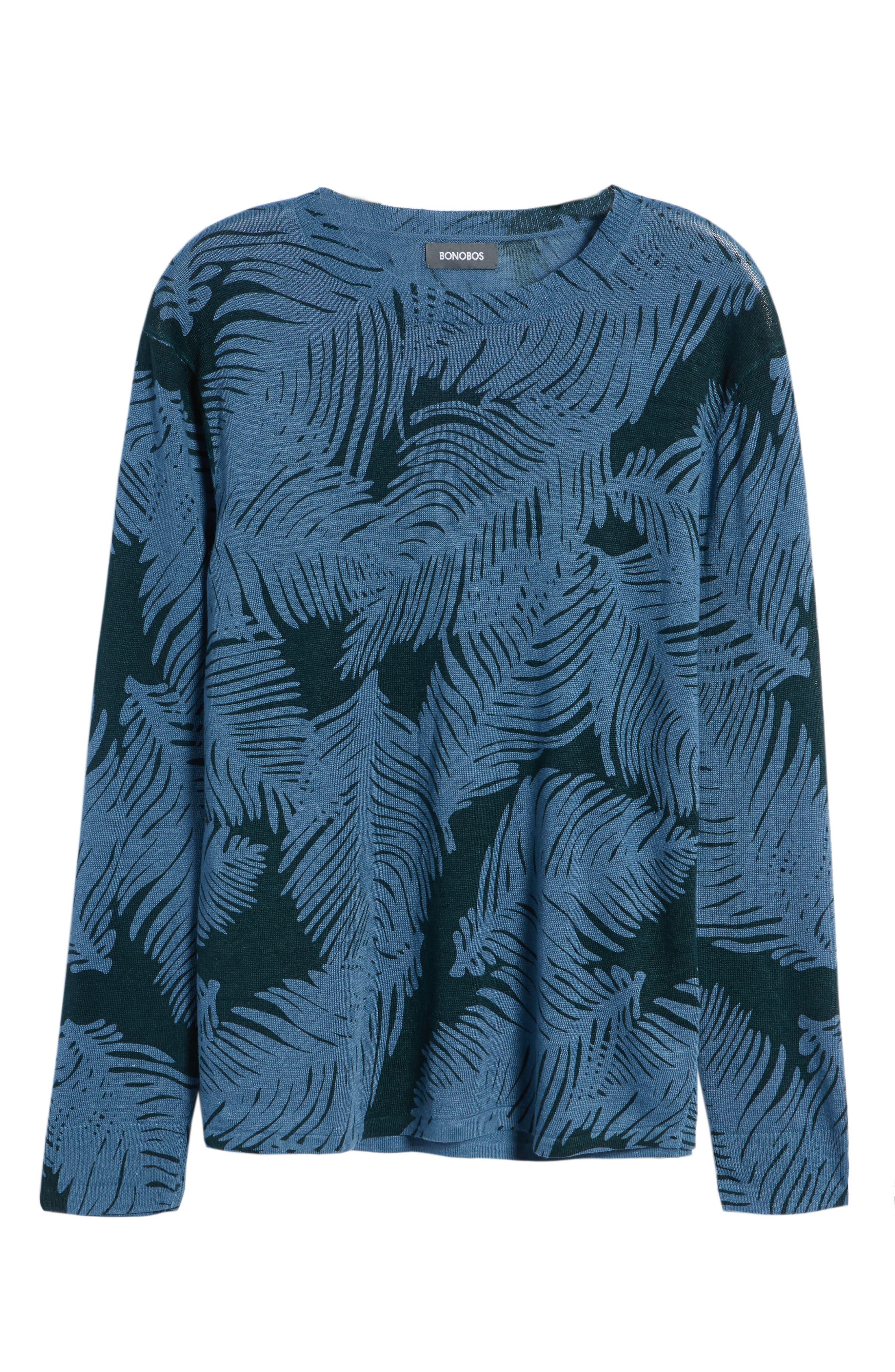 Palm Print Linen Sweater,                             Alternate thumbnail 6, color,                             Palm Fan Print