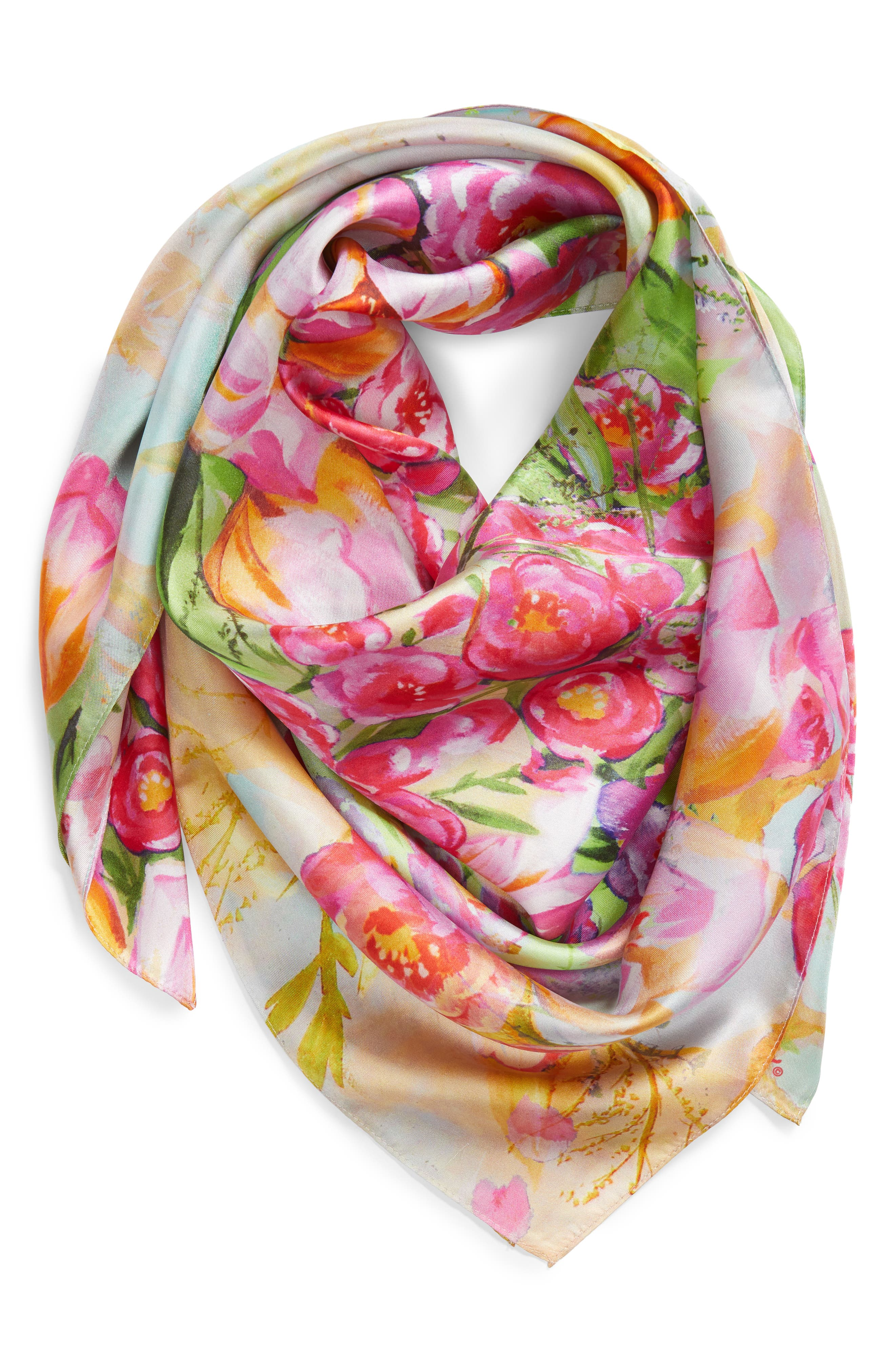 Painted Tulip Square Silk Scarf,                             Alternate thumbnail 2, color,                             Coral