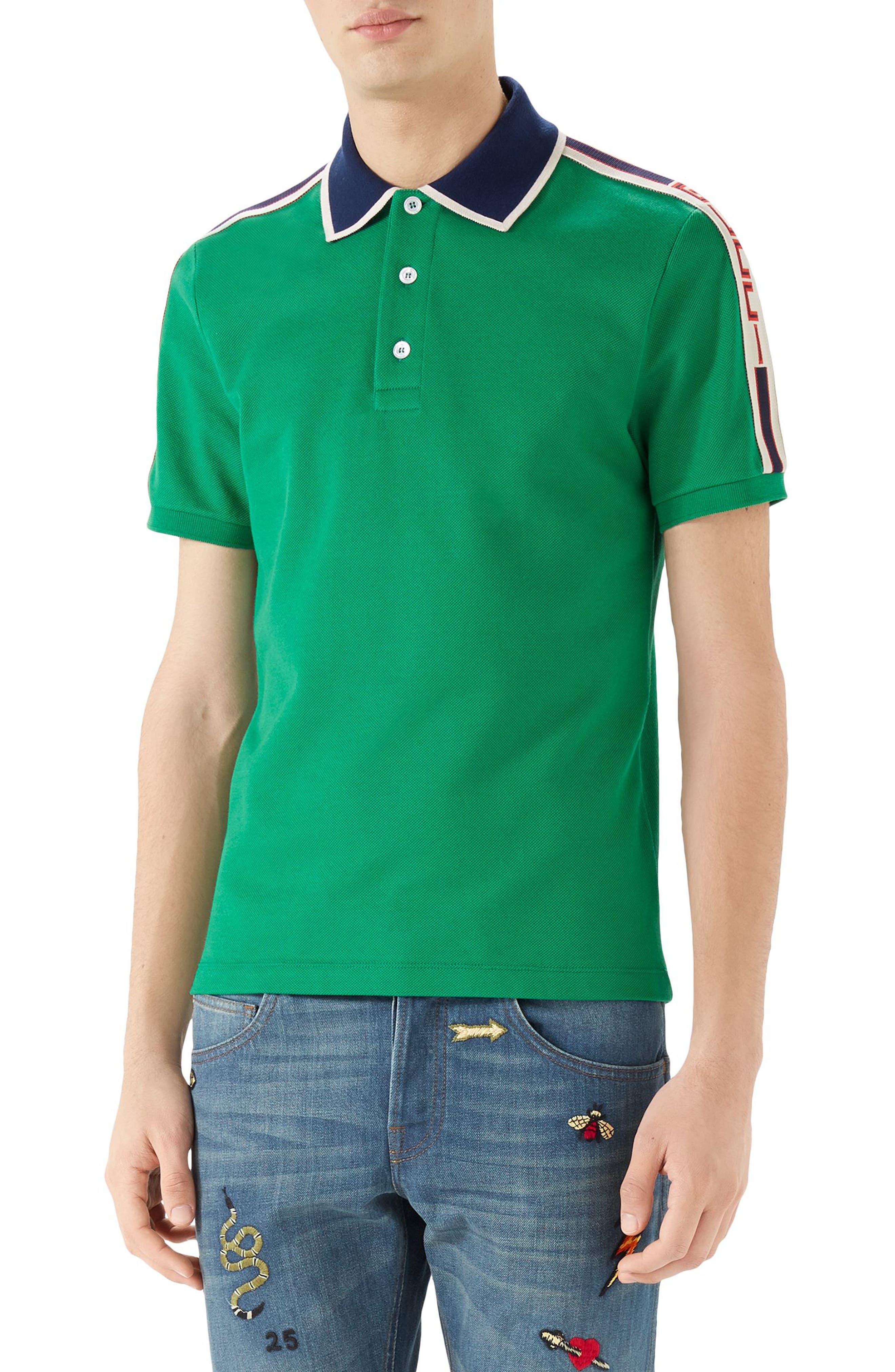 Jacquard Stripe Sleeve Piqué Polo,                         Main,                         color, Green