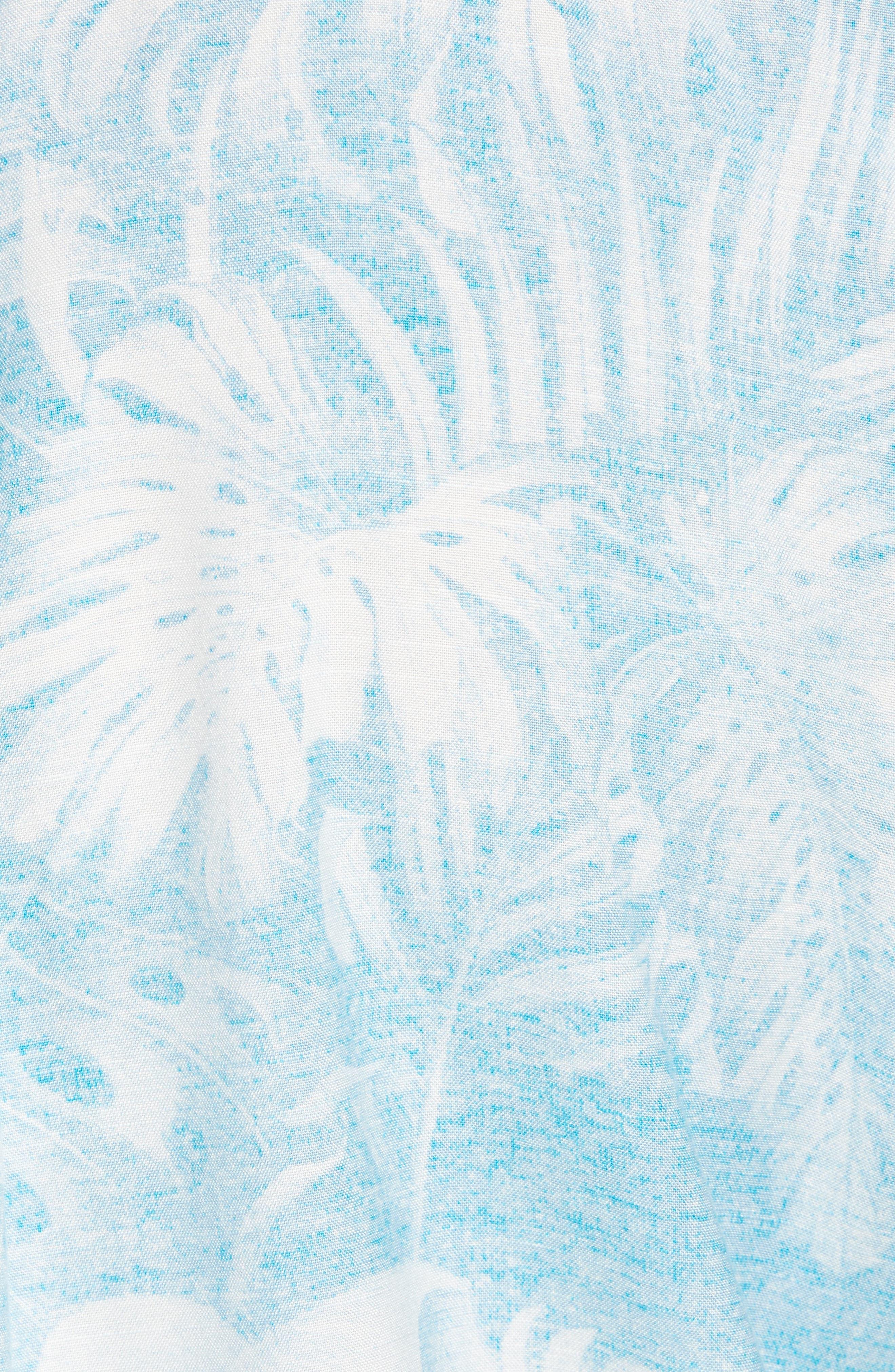 Grande Fronds Sport Shirt,                             Alternate thumbnail 5, color,                             Blue Radiance