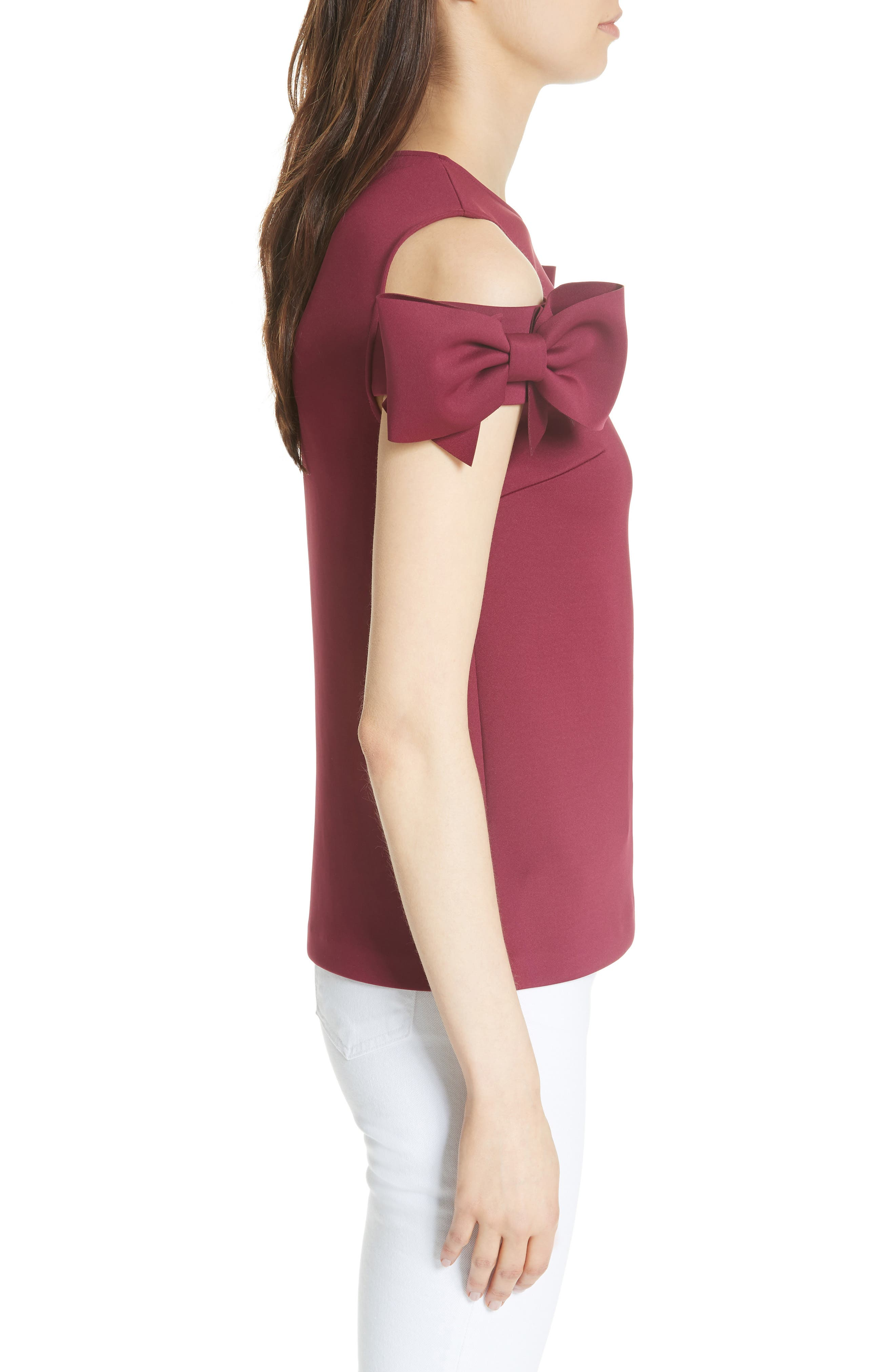 Mendoll Bow Sleeve Cold Shoulder Top,                             Alternate thumbnail 3, color,                             Maroon