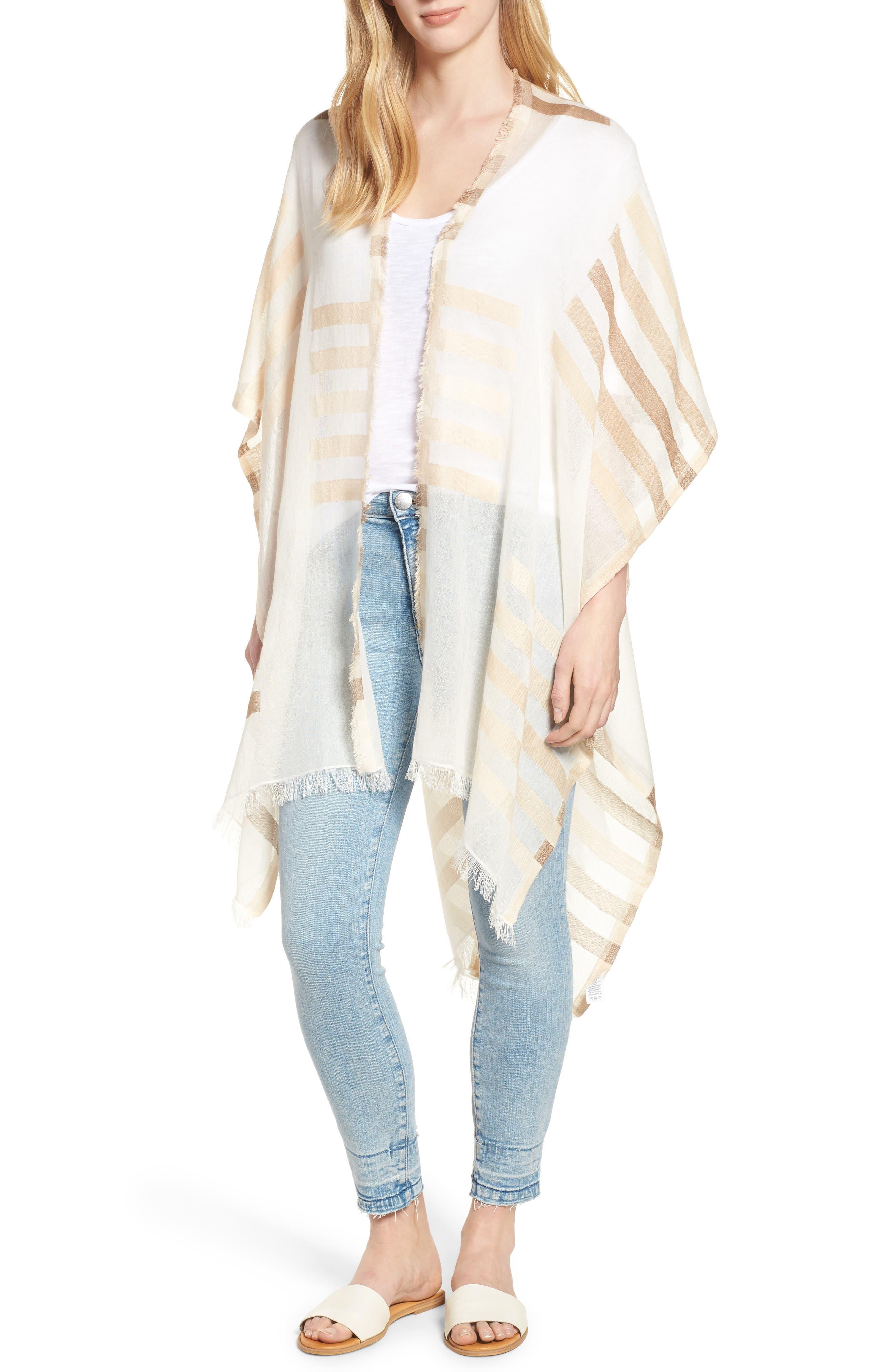 Bay Stripe Yarn Dyed Ruana,                         Main,                         color, White