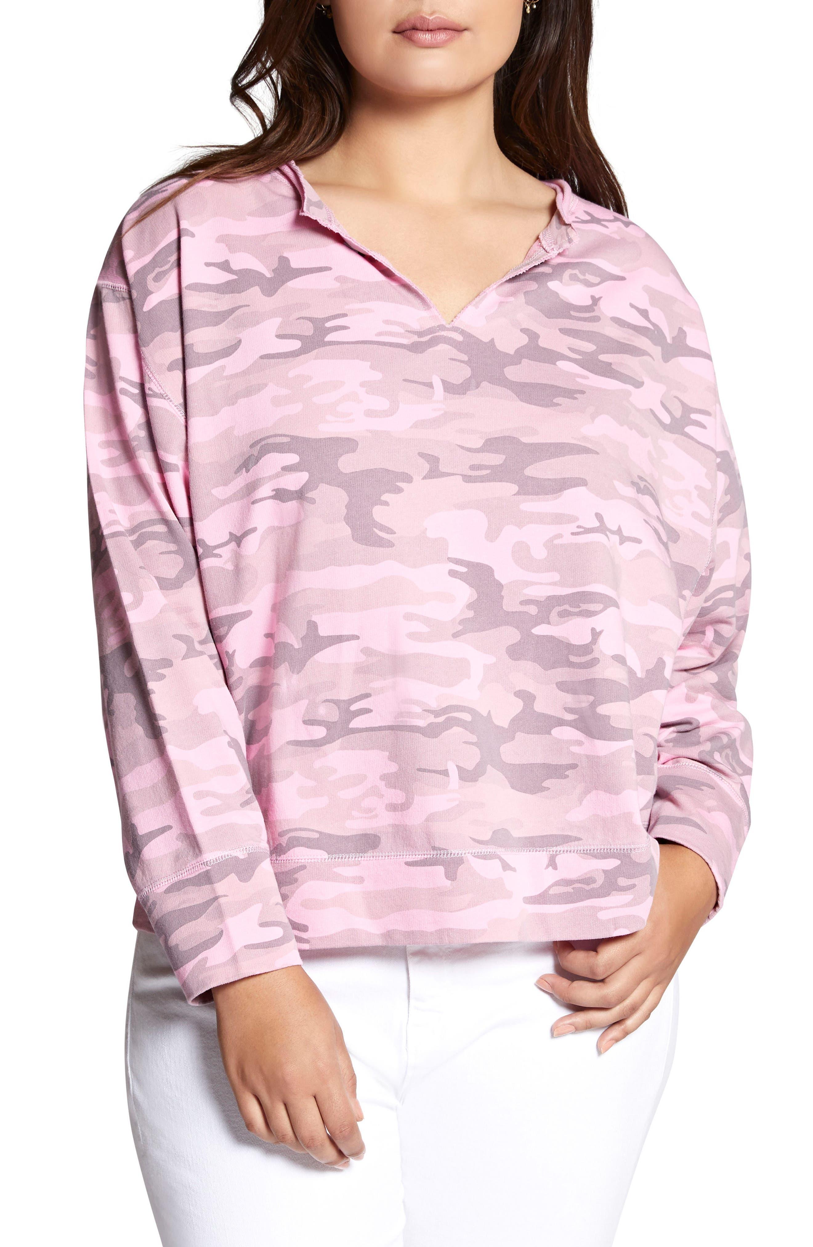 Breslin Split Neck Sweatshirt,                             Main thumbnail 1, color,                             Wild Cherry Camo