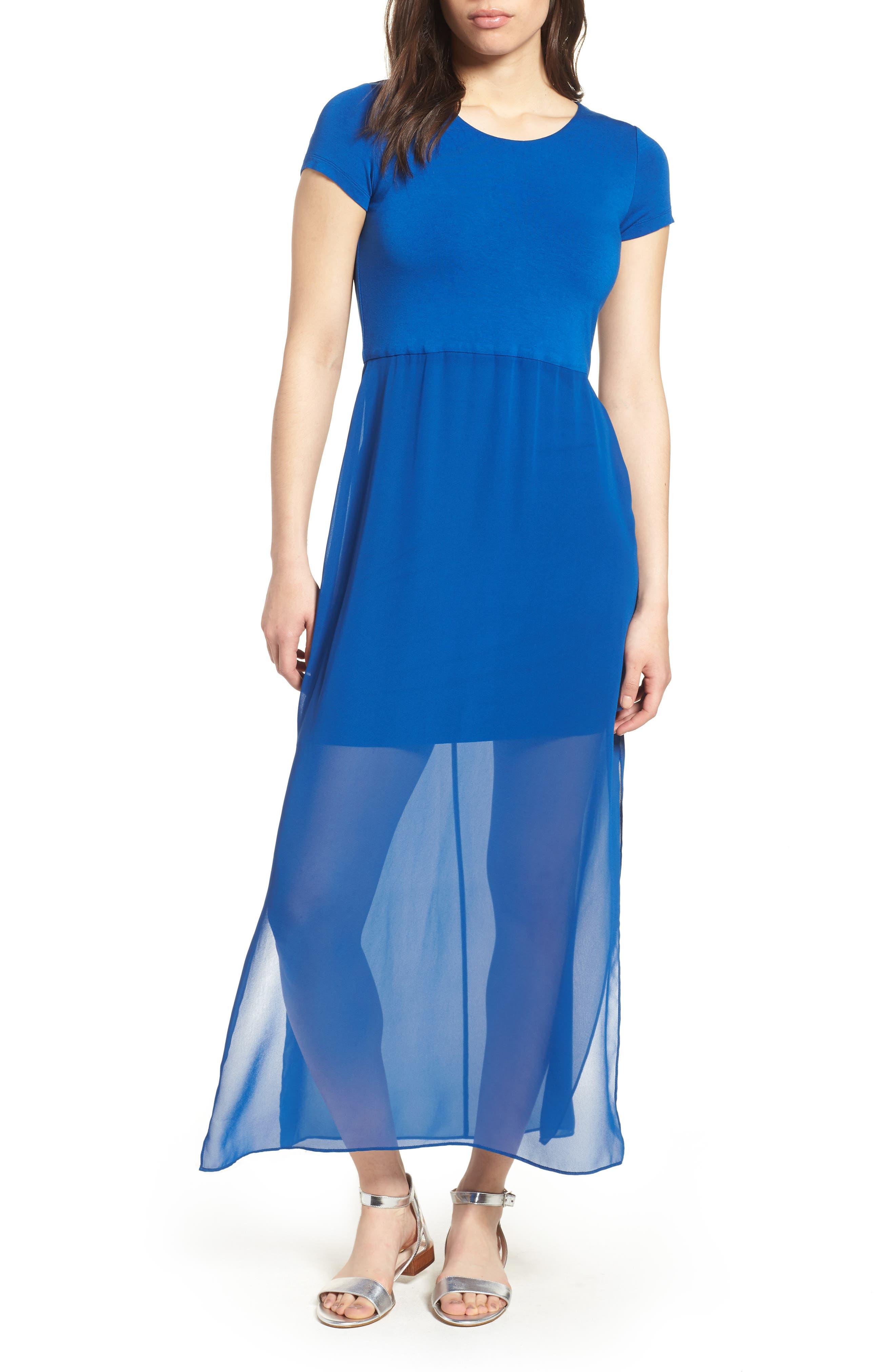 Chiffon Overlay Maxi Dress,                         Main,                         color, Amalfi Blue