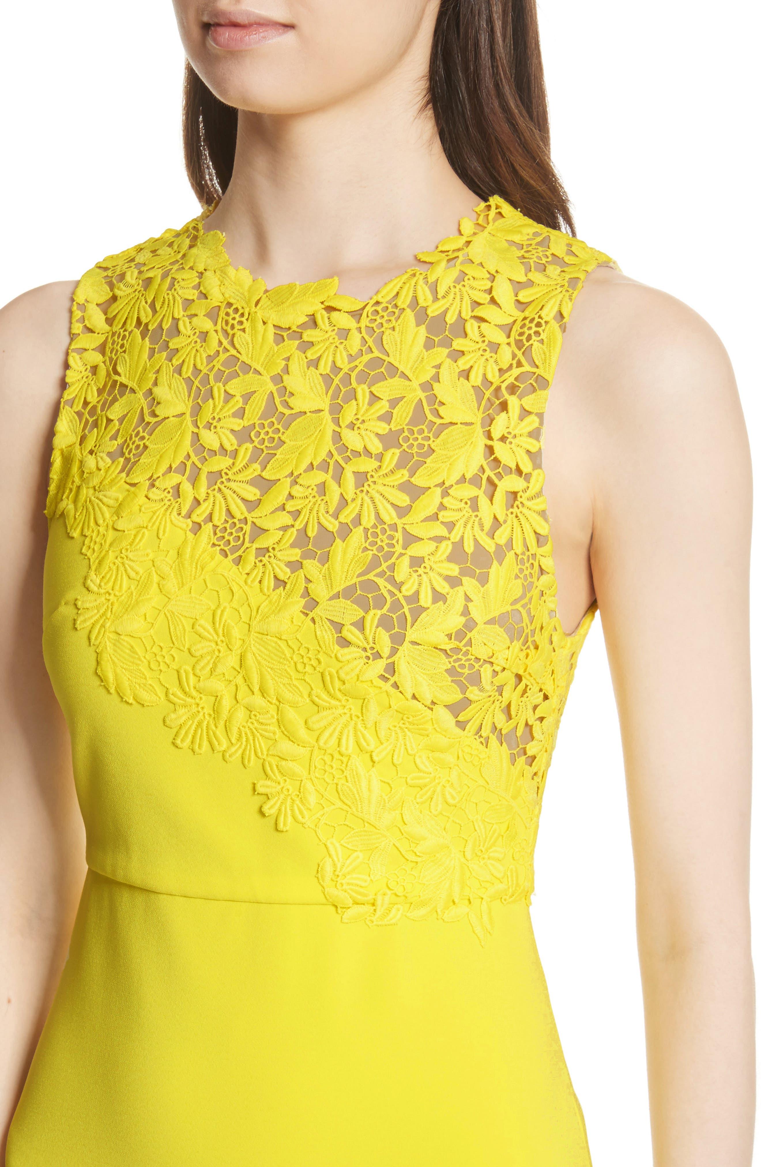Margy Lace Overlay Body-Con Dress,                             Alternate thumbnail 4, color,                             Lemon