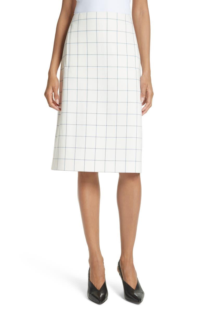 Windowpane Plaid A-Line Skirt