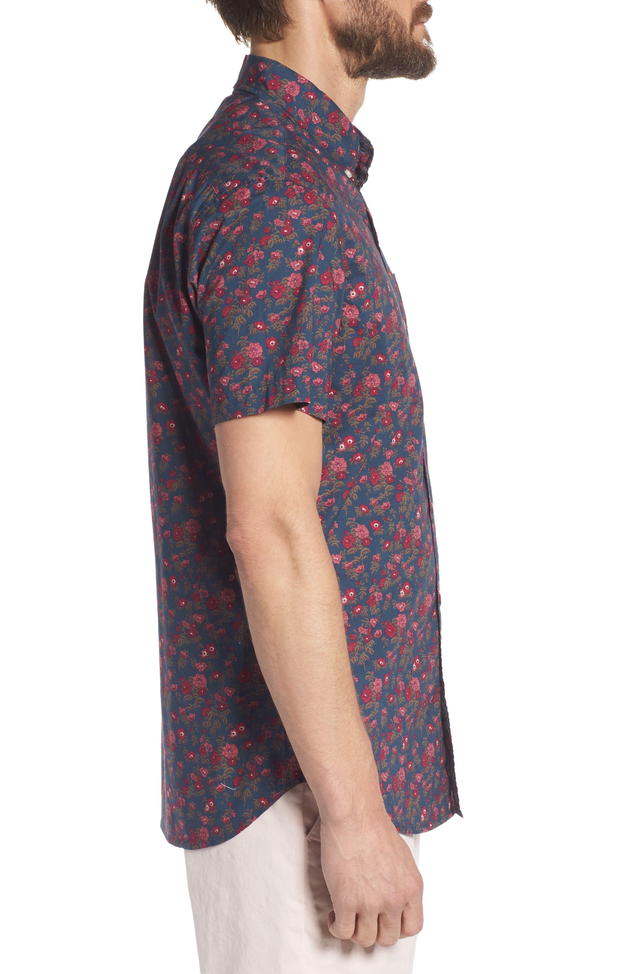 Riviera Slim Fit Floral Print Sport Shirt,                             Alternate thumbnail 4, color,                             Dandy Floral - Pickled Beet