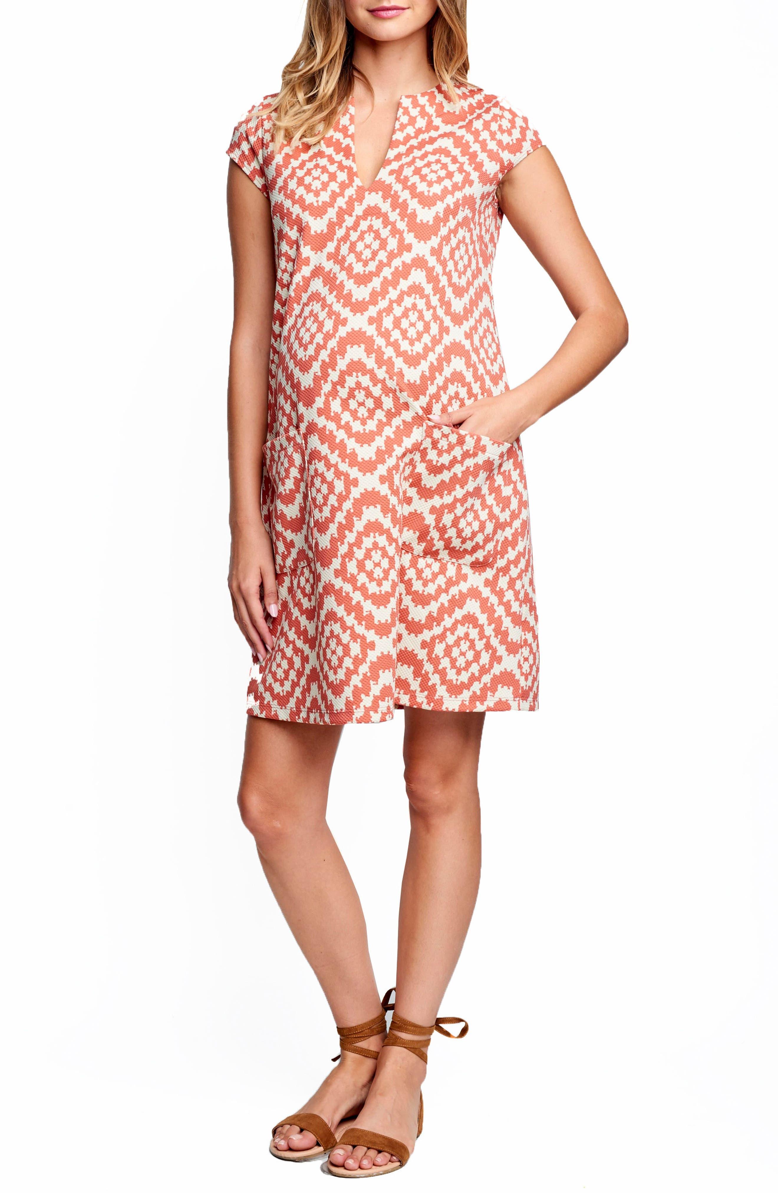 Shift Maternity Dress,                             Main thumbnail 1, color,                             Apricot Tapestry