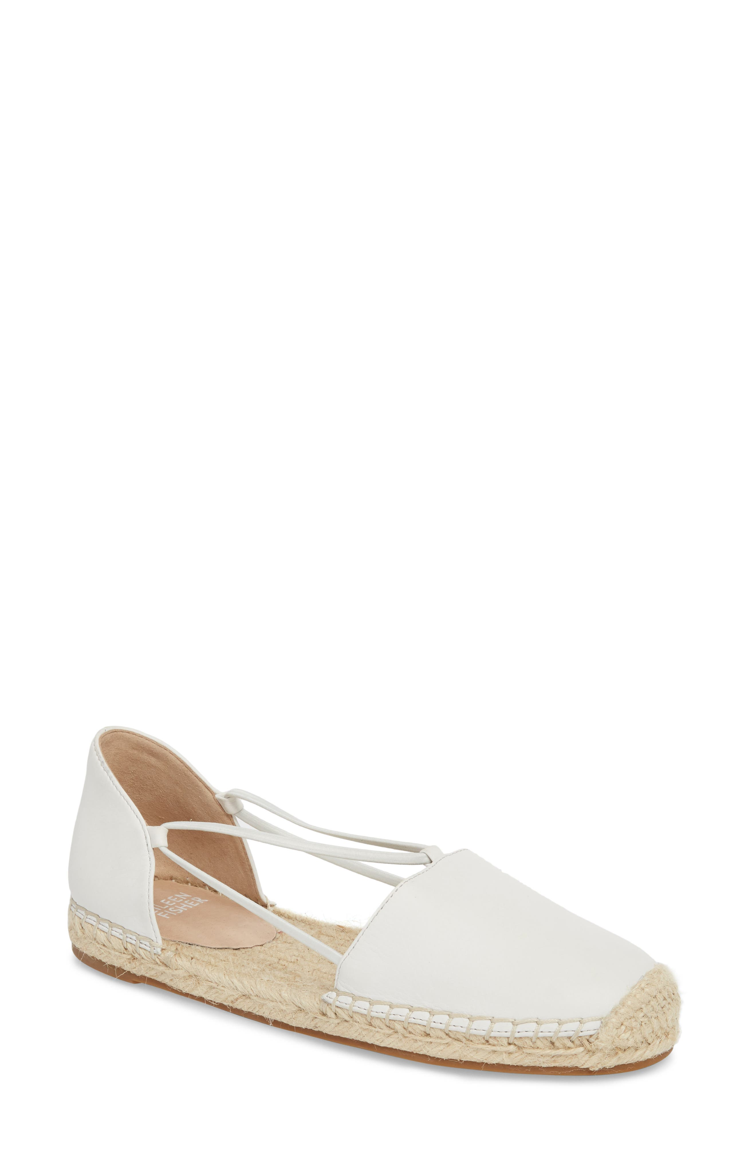 Lee Espadrille Flat,                         Main,                         color, White Leather