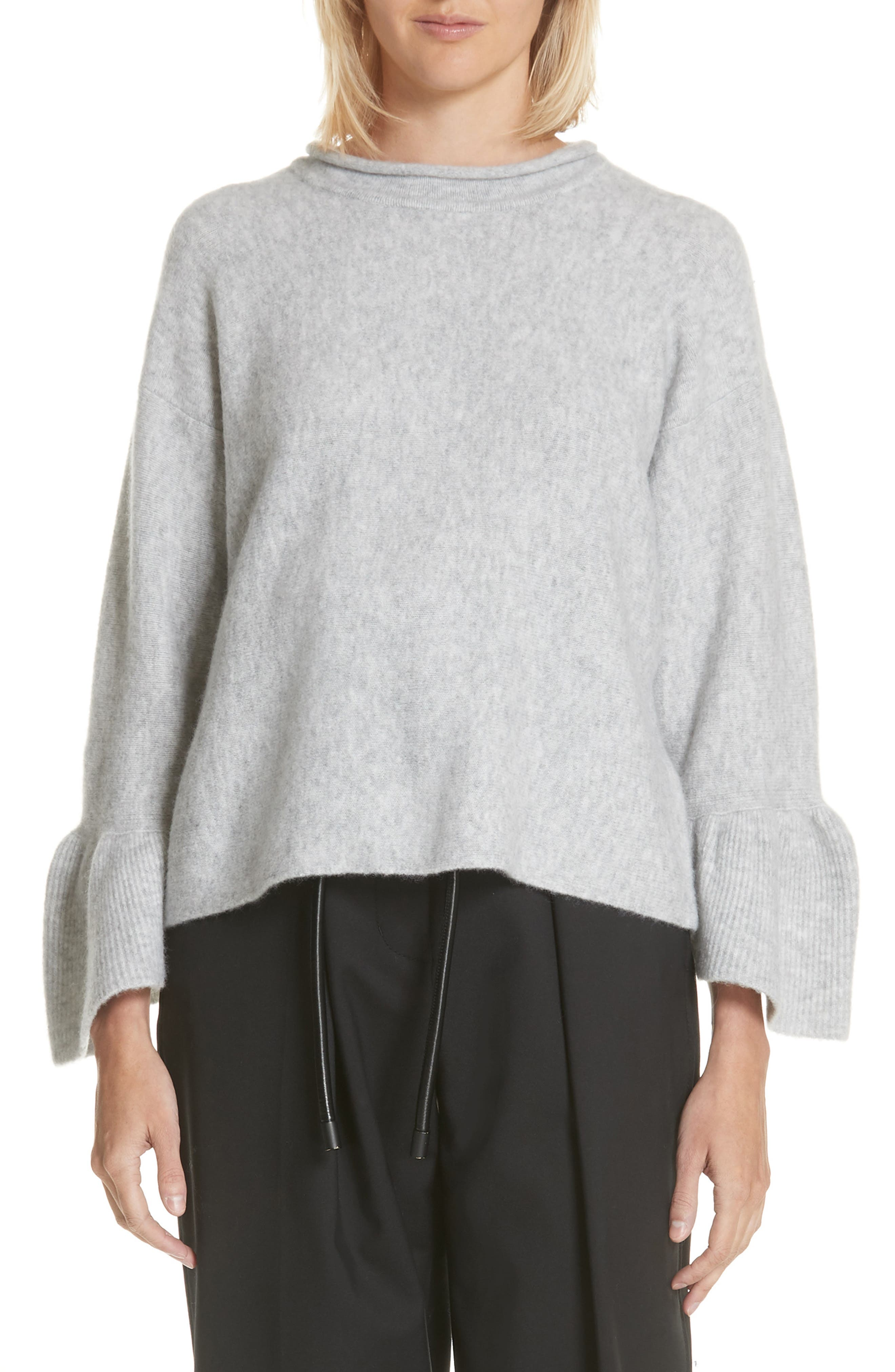 Ruffle Cuff Wool Blend Pullover,                         Main,                         color, Grey Melange
